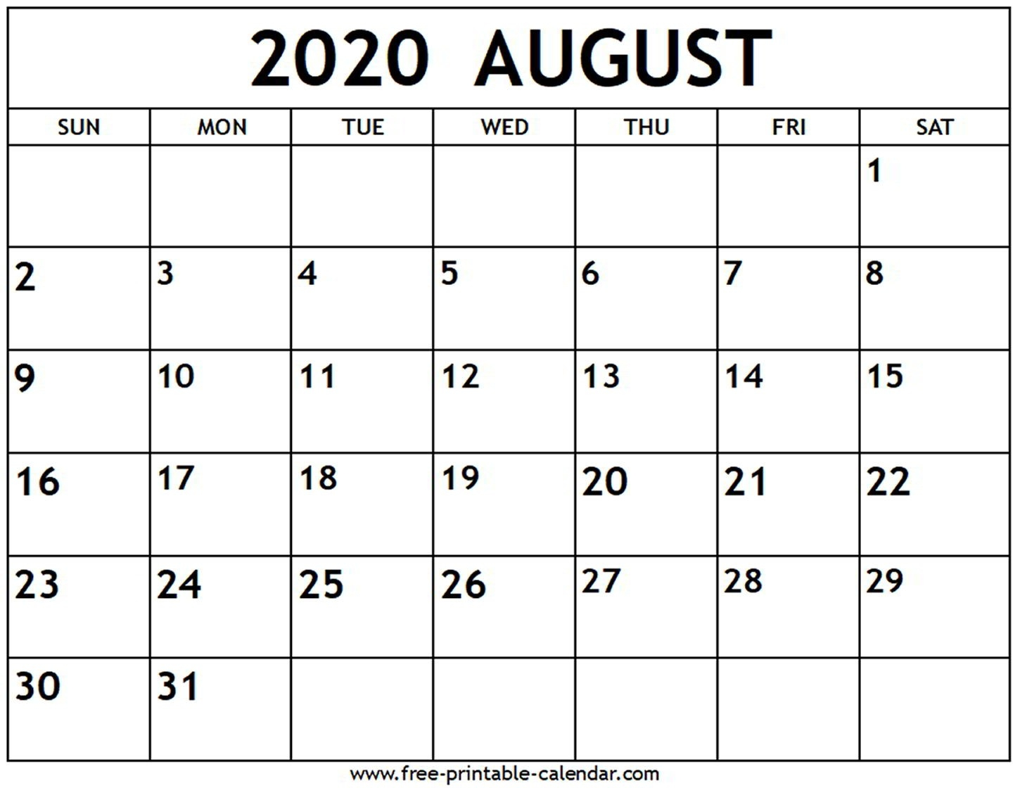 August 2020 Calendar - Free-Printable-Calendar-Blank Calendars June July And August 2020