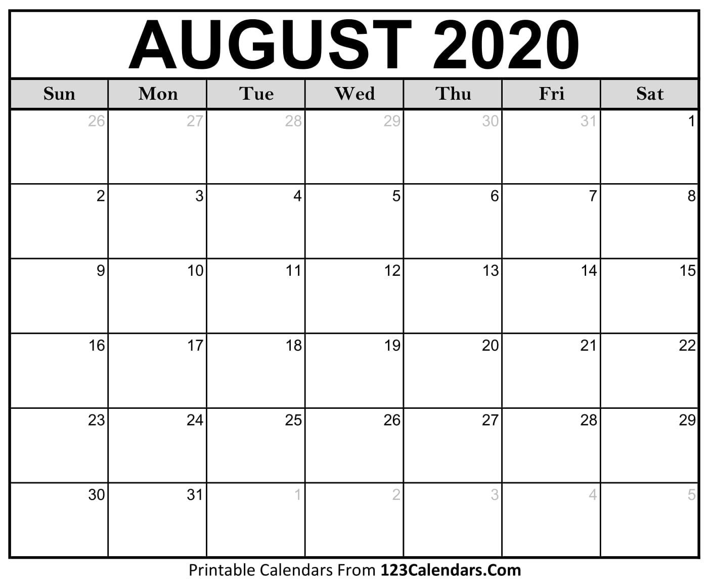 August 2020 Printable Calendar | 123Calendars-Blank Calendar June July August 2020