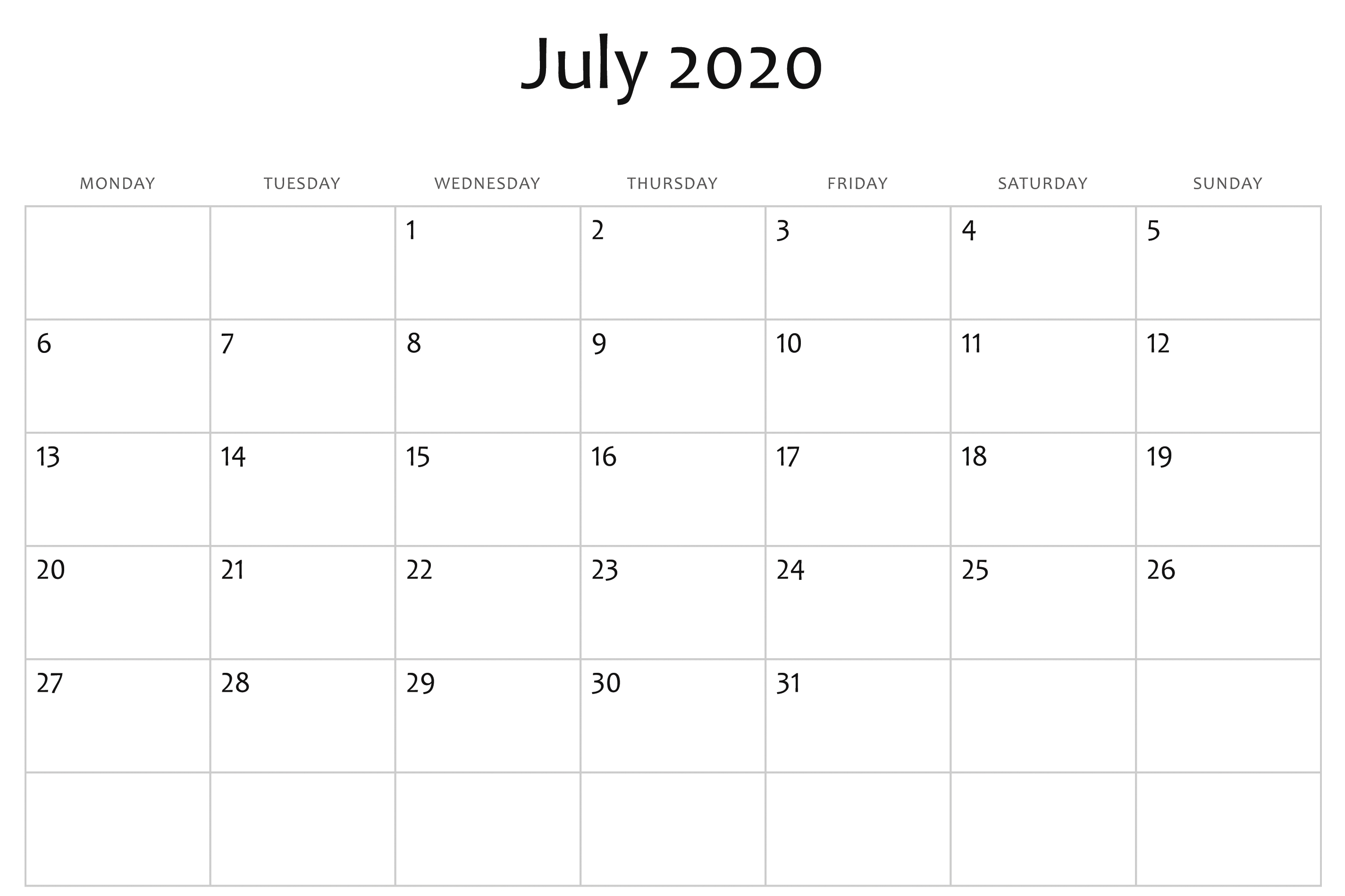 Best Monthly Blank Calendar For July 2020 Printable Template-2020 Printable Microsoft Word Calendar Template