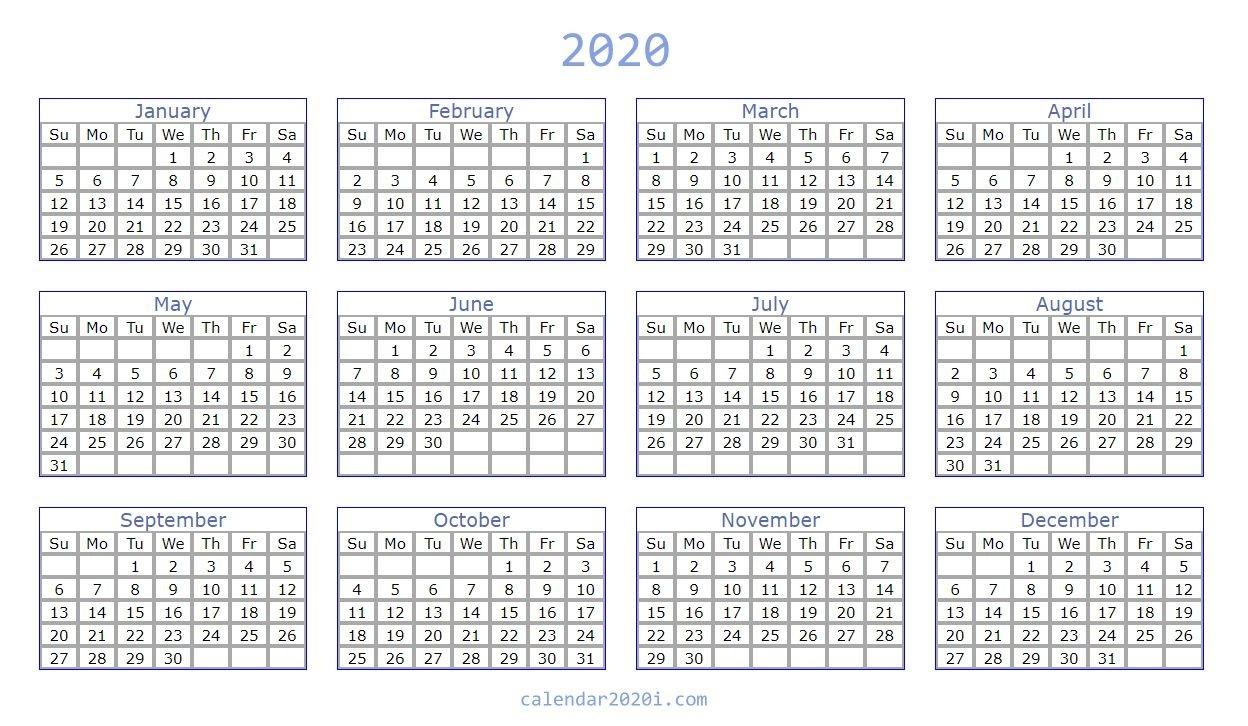 Blank 2020 Calendar Printable Templates | Calendar 2020-2020 Printable Microsoft Word Calendar Template