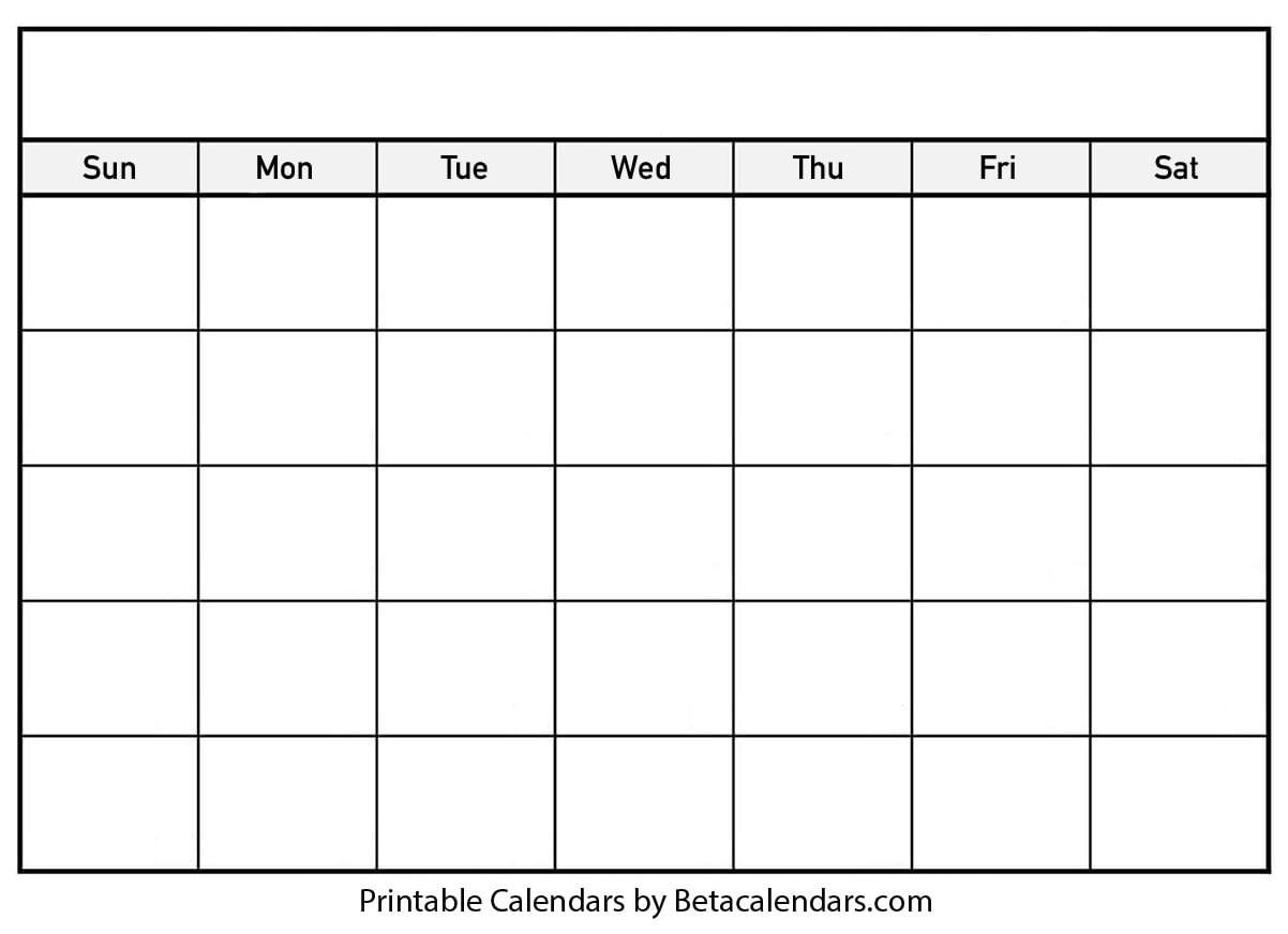Blank Calendar - Beta Calendars-Printable Blank Calendar Template With Notes