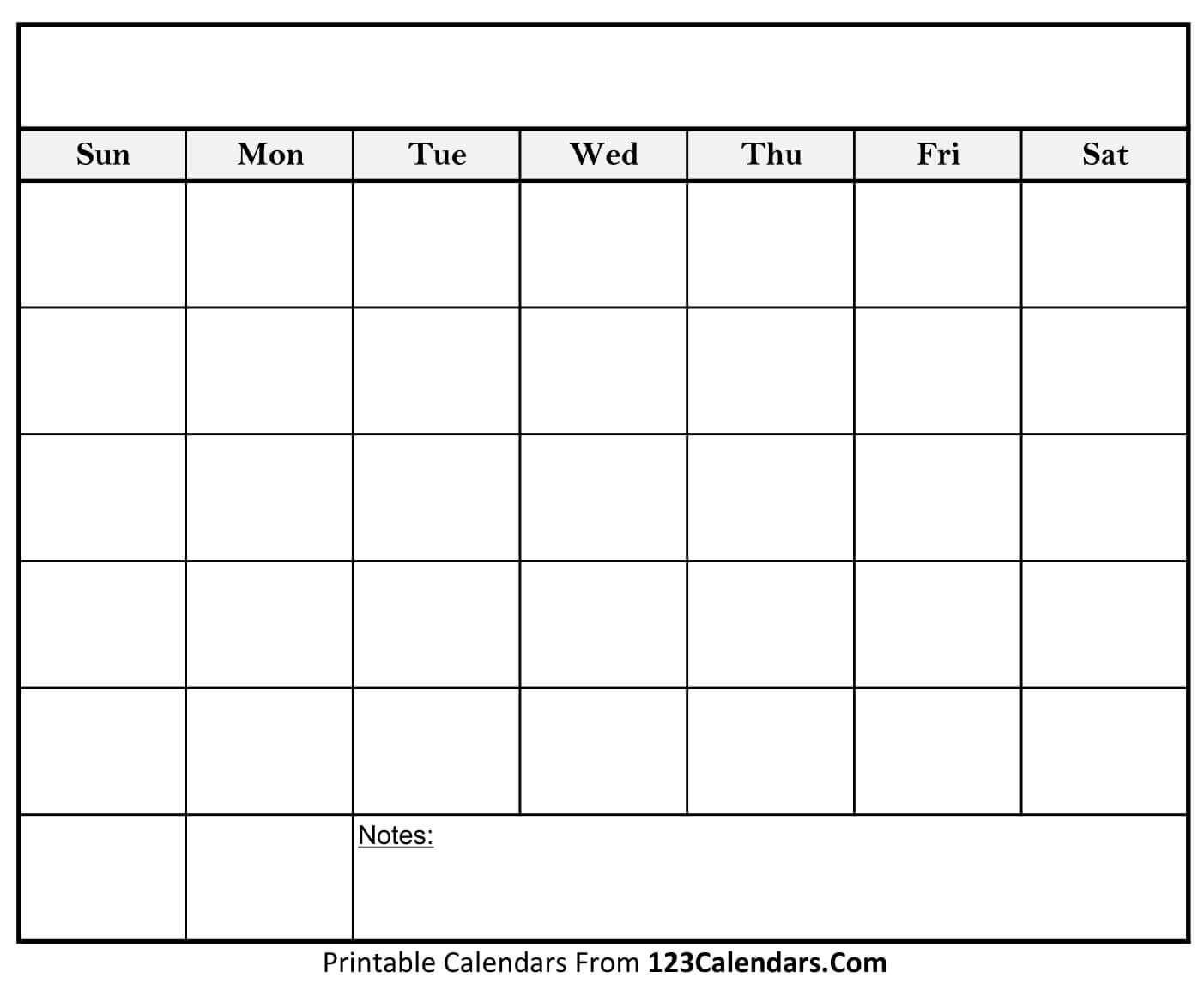 Blank Calendar | Printable Blank Calendar, Calender Template-Printable Blank Calendar Template With Notes