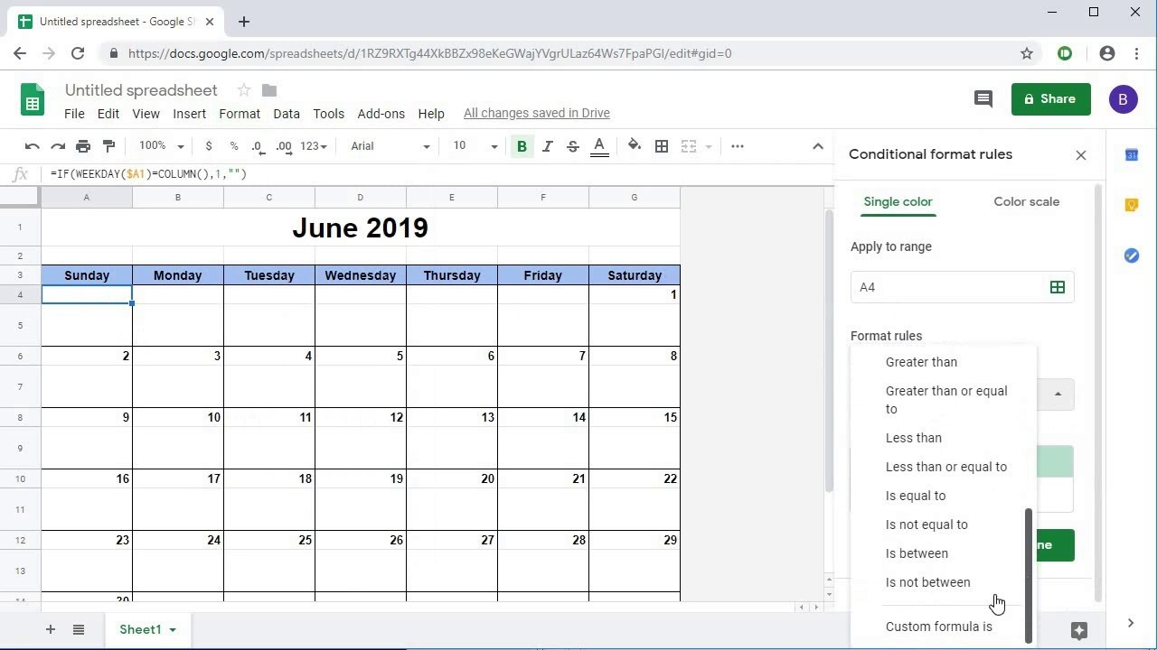 Creating A Dynamic Monthly Calendar In Google Sheets-Calendar Template For Google Sheets
