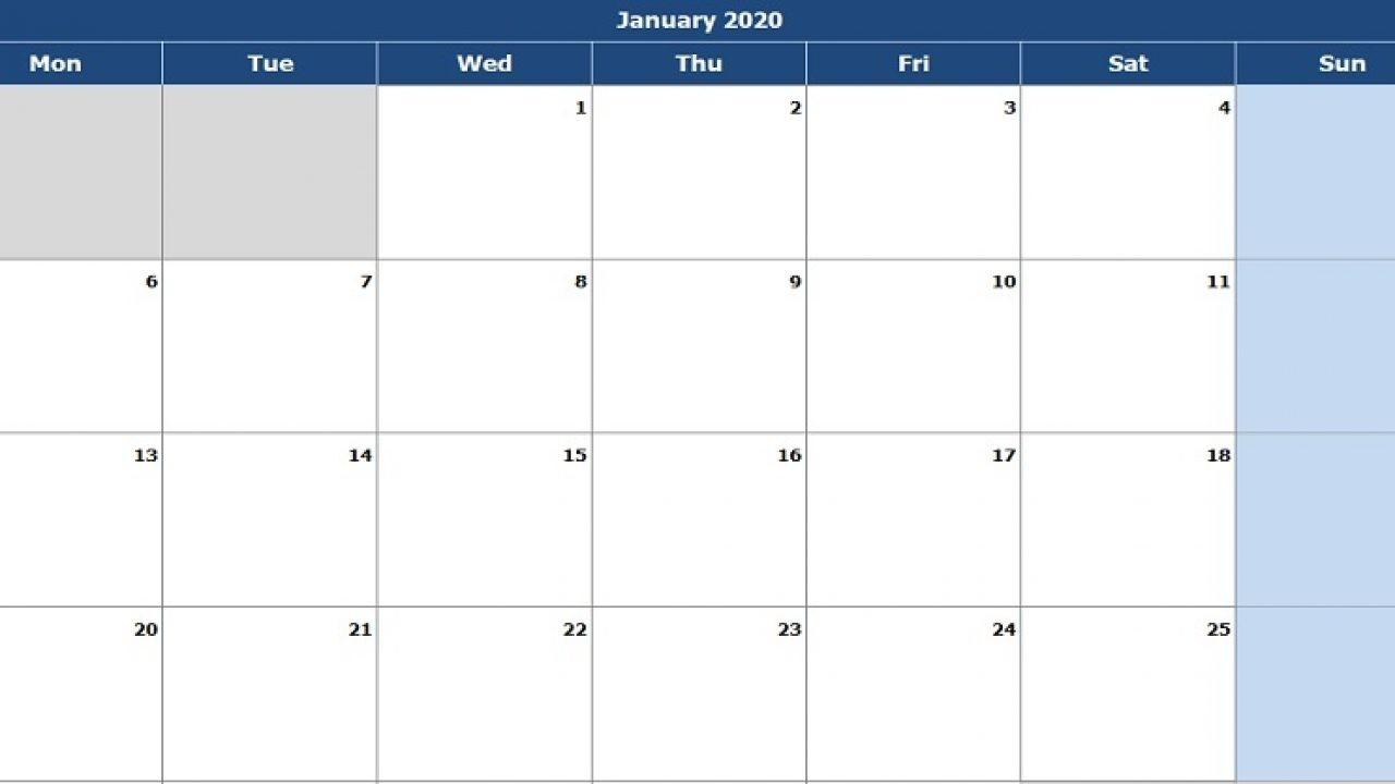 Download 2020 Monthly Calendar (Mon Start) Excel Template-2020 Calendar Excel Template
