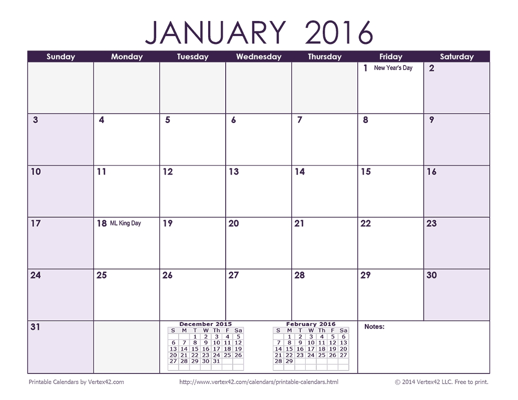 Download A Free 2016 Monthly Calendar - Purple From Vertex42-Calendar Template By Vertex42.com
