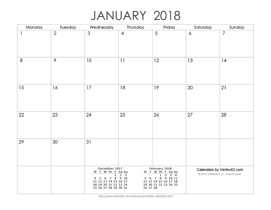 Download A Free Printable Ink Saver 2018 Calendar From-Calendar Template By Vertex42.com
