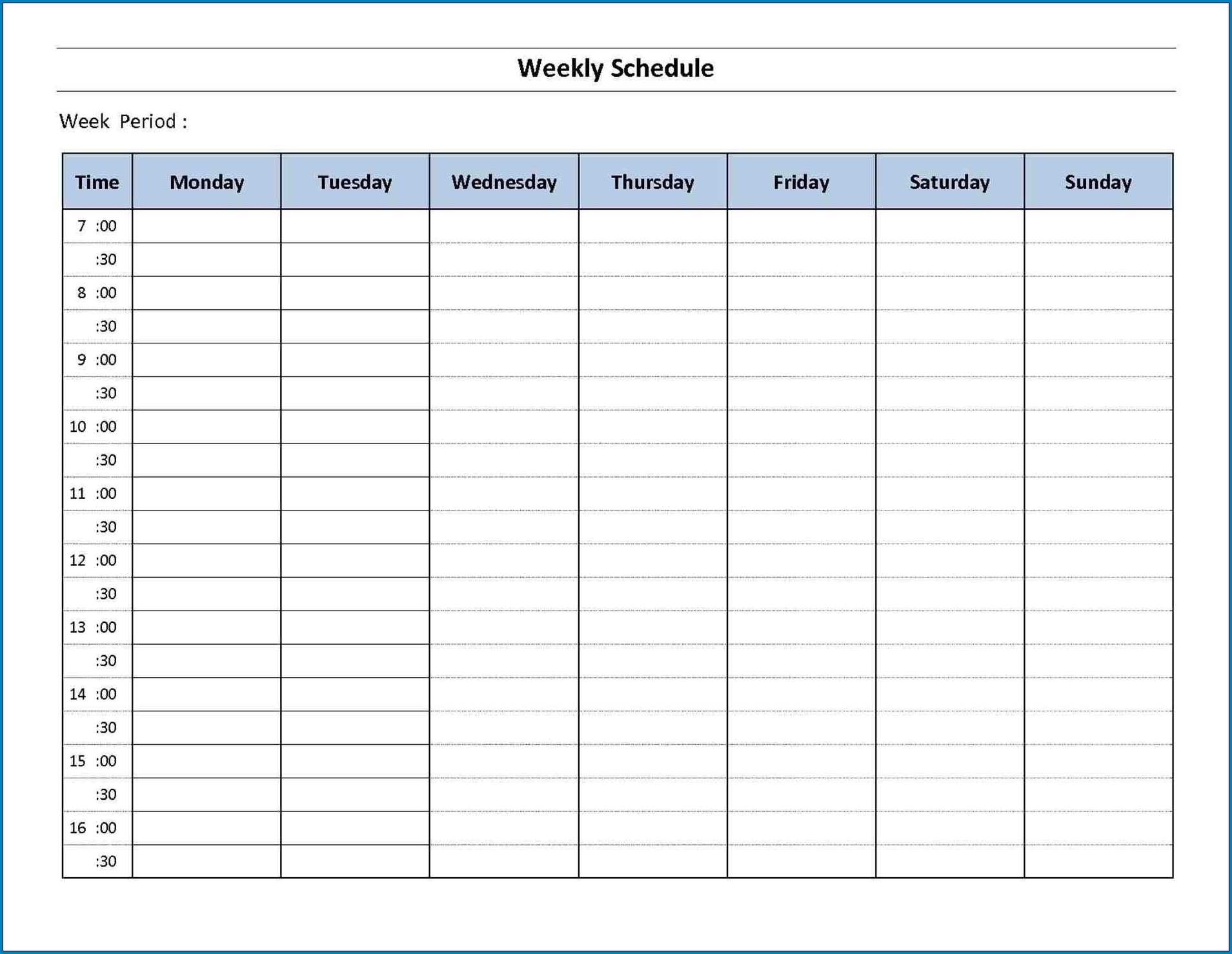 √ Free Printable 7 Day Schedule Template | Templateral-Blank 7 Day Calendar Template