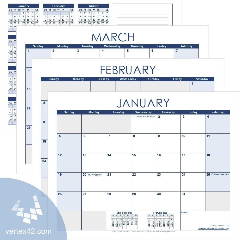 Excel Calendar Template For 2020 And Beyond-Calendar Template By Vertex42.com
