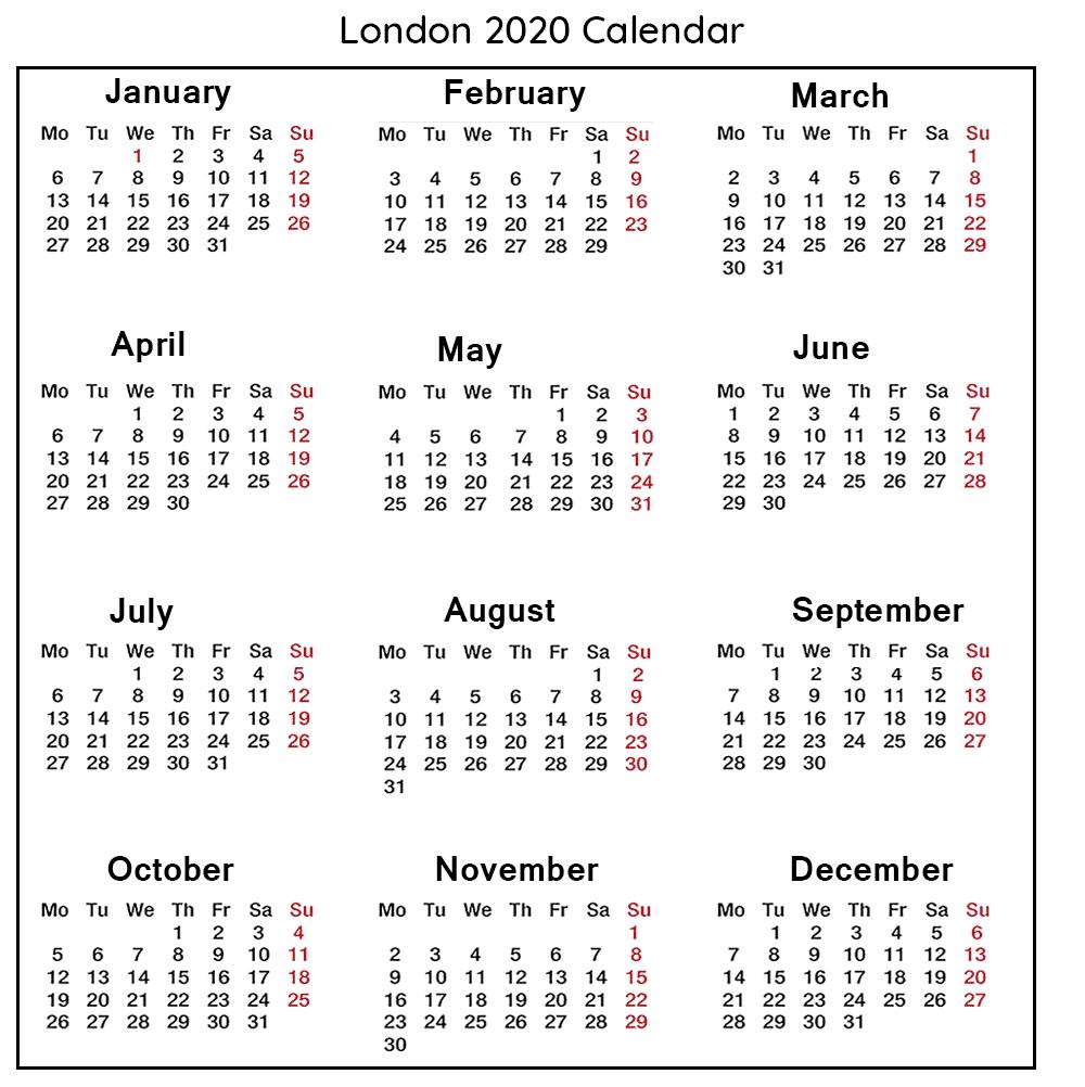 😄free Public Holidays Calendar 2020 London Templates-Printable Calendar 2020 Including Bank Holidays