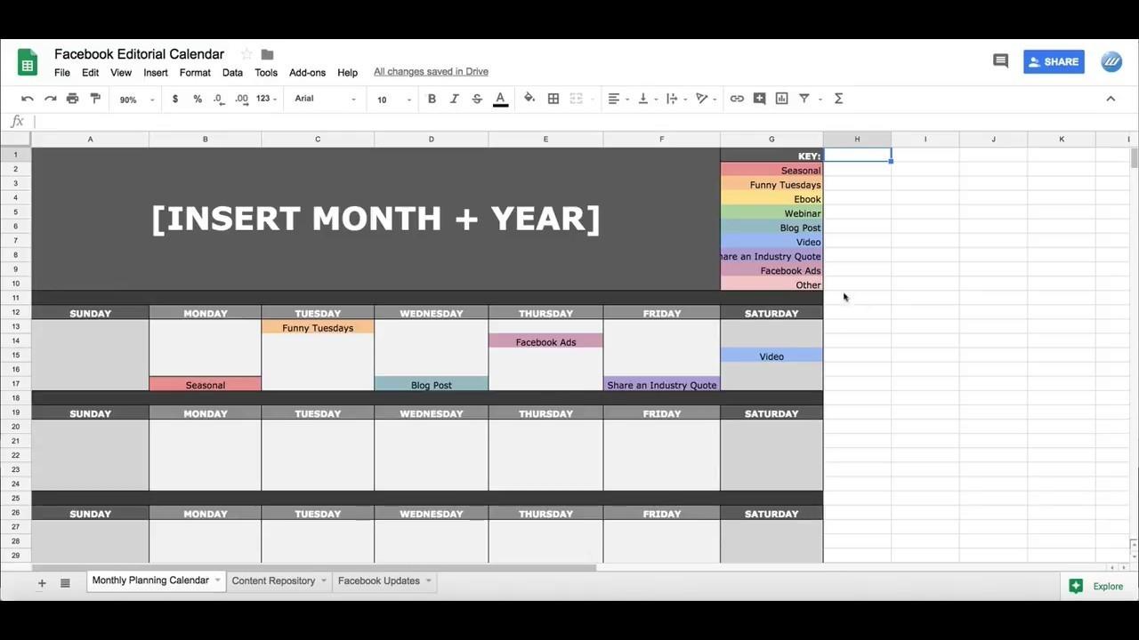 Facebook Social Media Editorial Calendar In Google Sheets-Calendar Template For Google Sheets