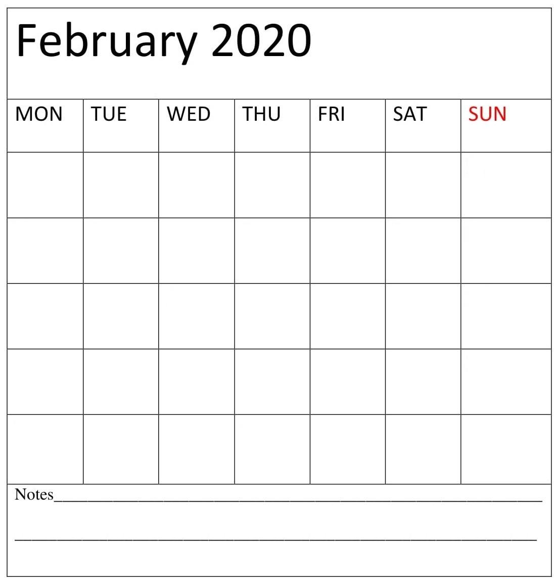 February 2020 Blank Calendar Free Printable - Latest-Printable Blank Calendar Template With Notes