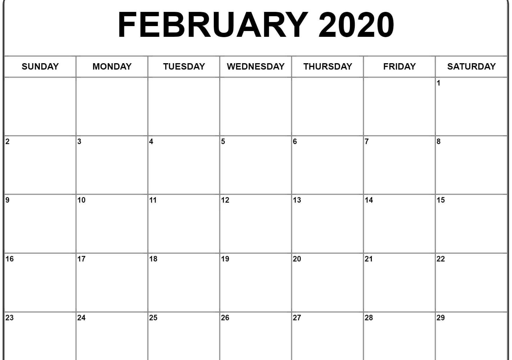 February 2020 Calendar Pdf, Word, Excel Printable Template-2020 Calendar Excel Template