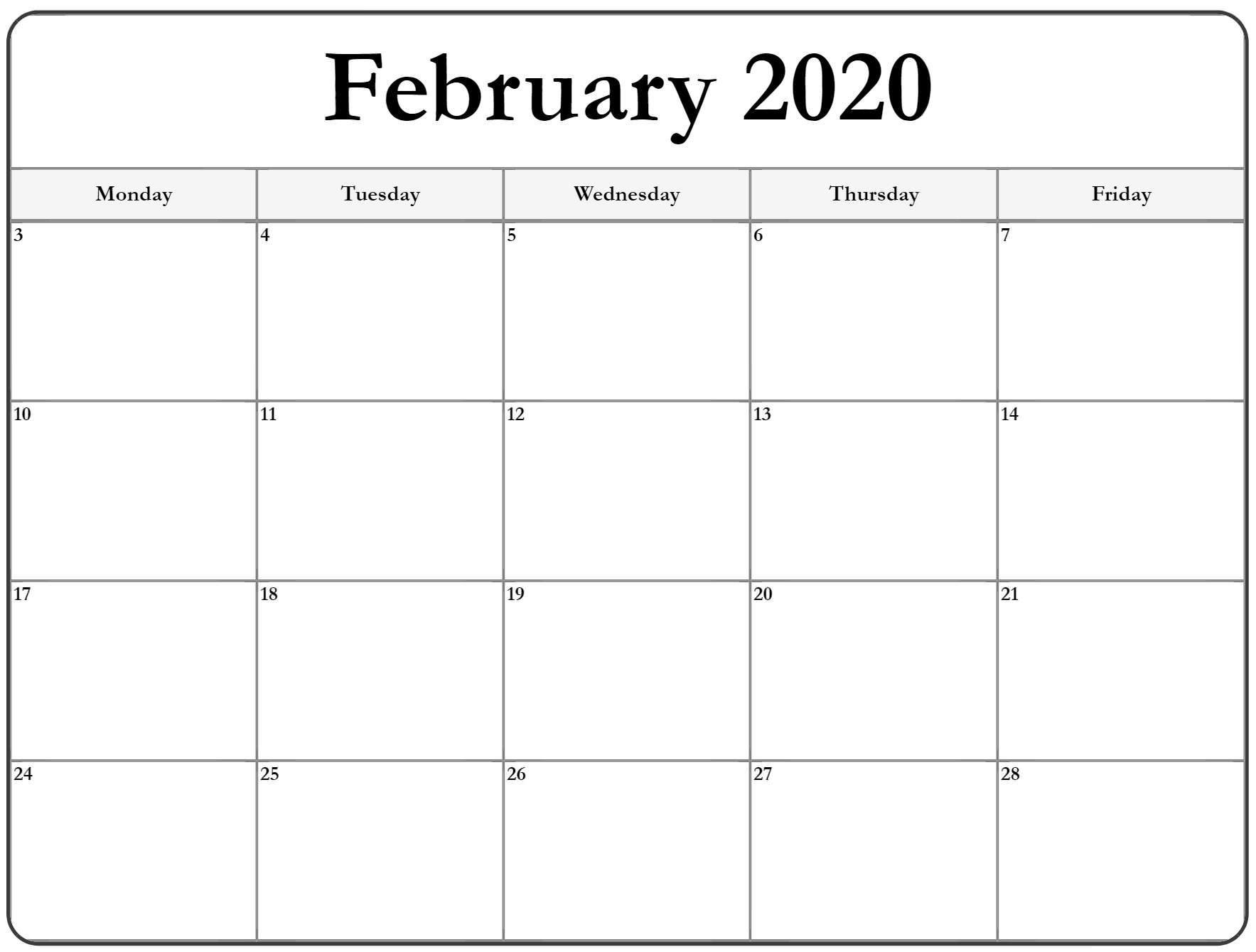 February 2020 Monday Calendar | Monday To Sunday-2020 Calendar Templates Monday - Friday