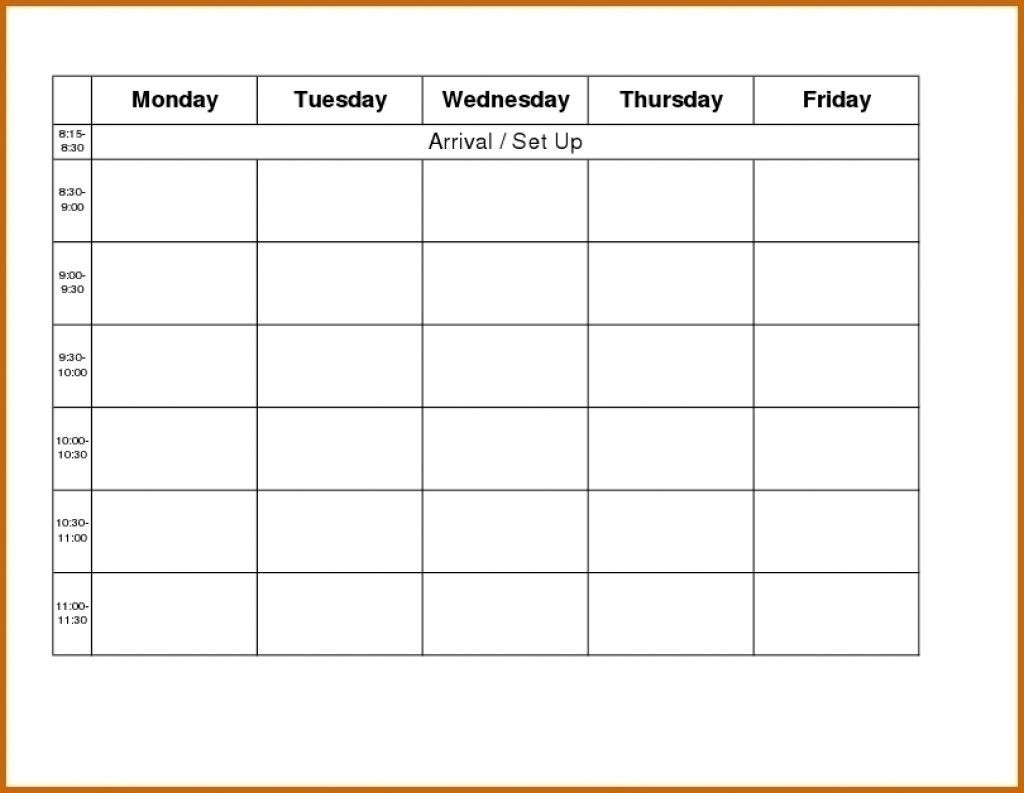 Free Blank Printable Monthly Calendar Monday – Friday-Monday Friday Blank Calendar