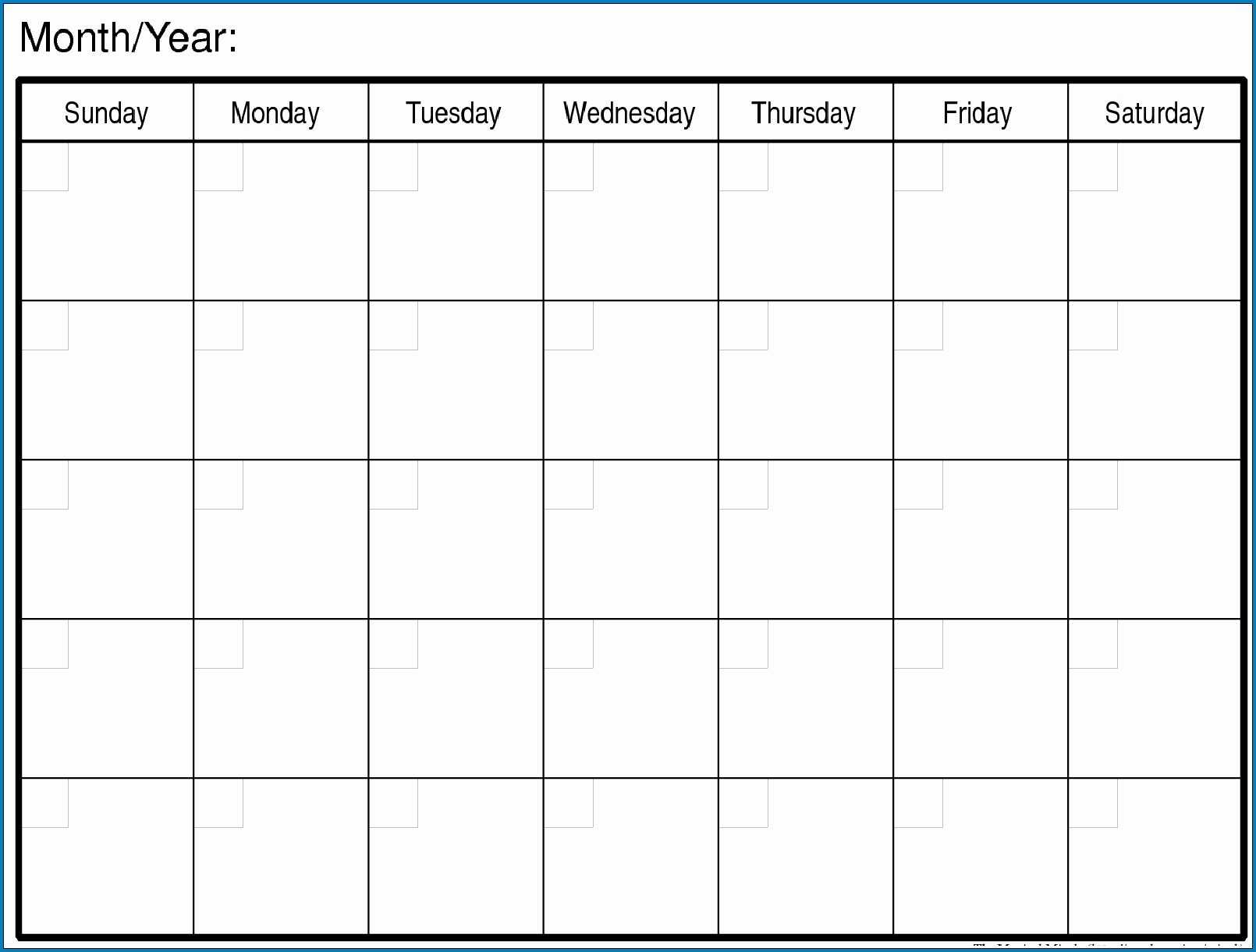 Free Blank Printable Monthly Calendar Monday – Friday-Printable Monthly Calendar Monday Start