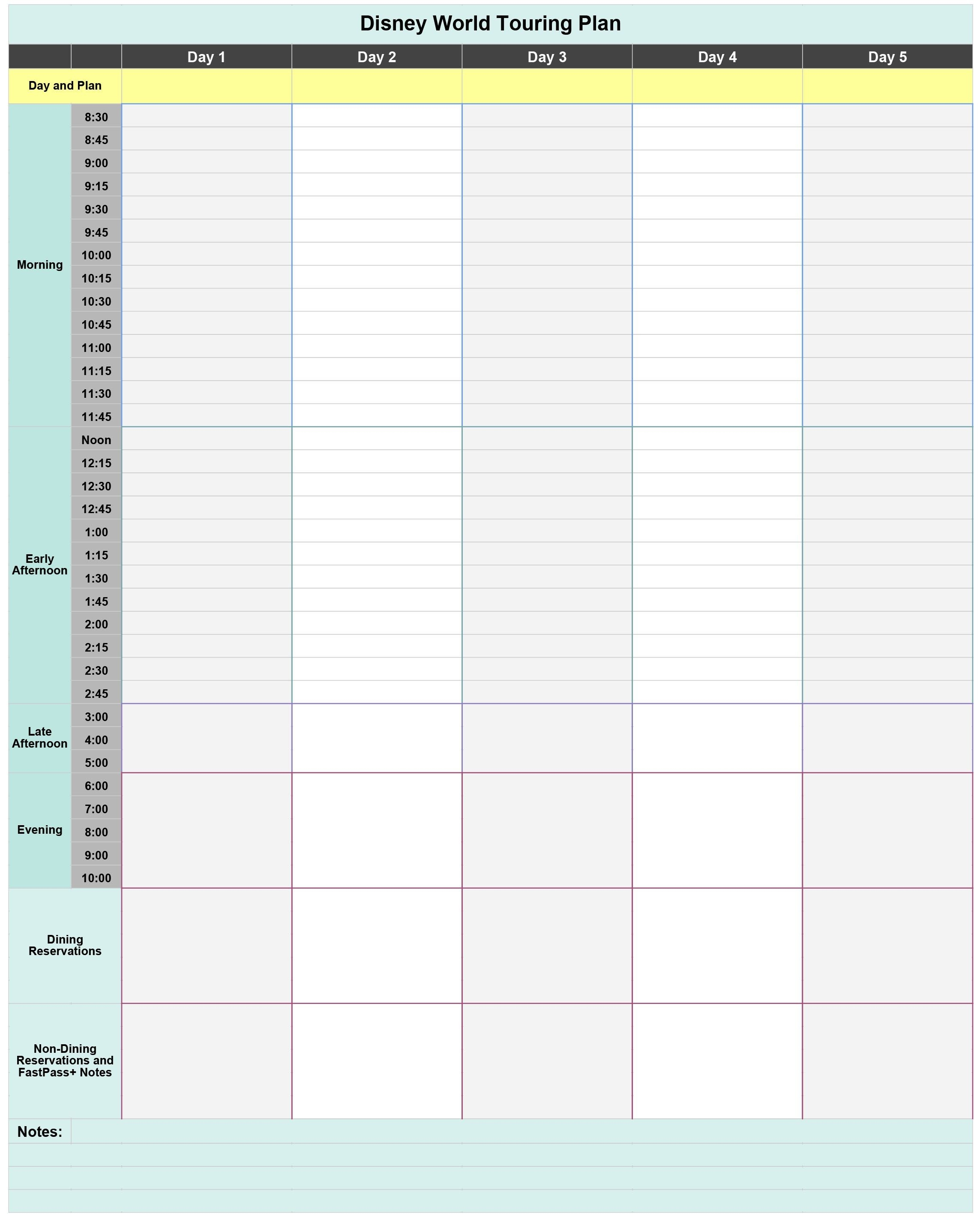 Free Disney World Touring Plan Spreadsheet - Wit & Wander-Disney World Blank Itinerary Template