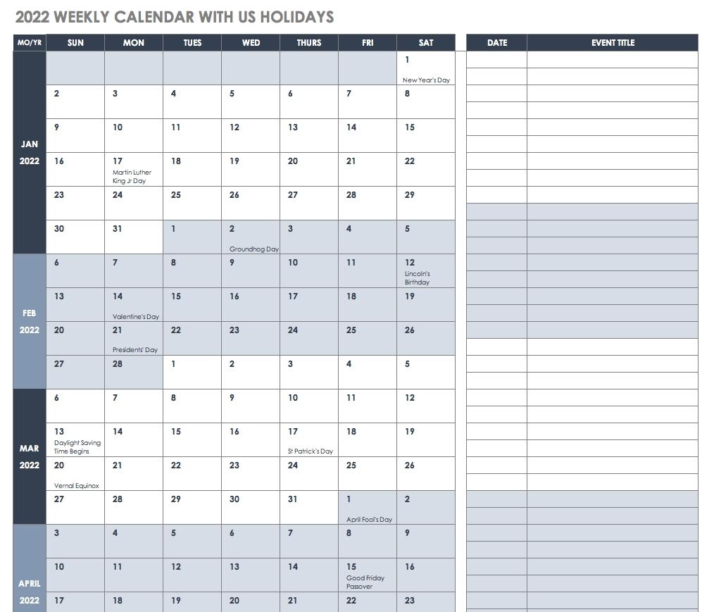 Free Excel Calendar Templates-Blank Academic Week By Week Calendar