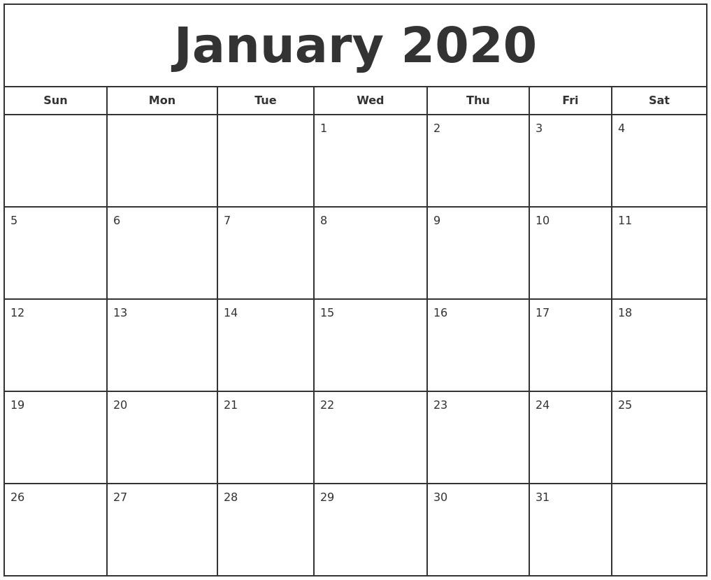 Free January Calendar 2020 Printable Template Blank In Pdf-2020 Calendar Template Ms Word