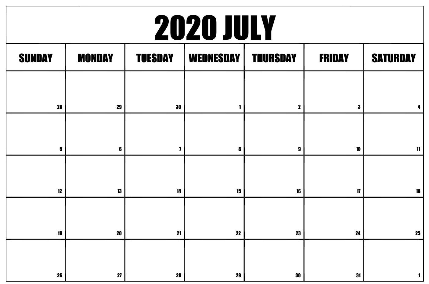 Free July Calendar 2020 Monthly Printable Templates | July-2020 Calendar Templates Monday - Friday