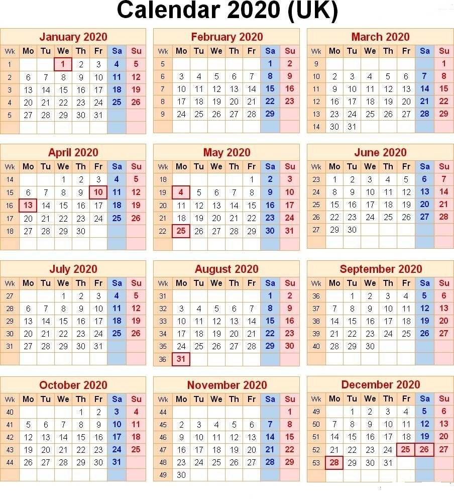 Free Printable 2020 Uk Calendar With Public Holidays-Printable Calendar 2020 Including Bank Holidays