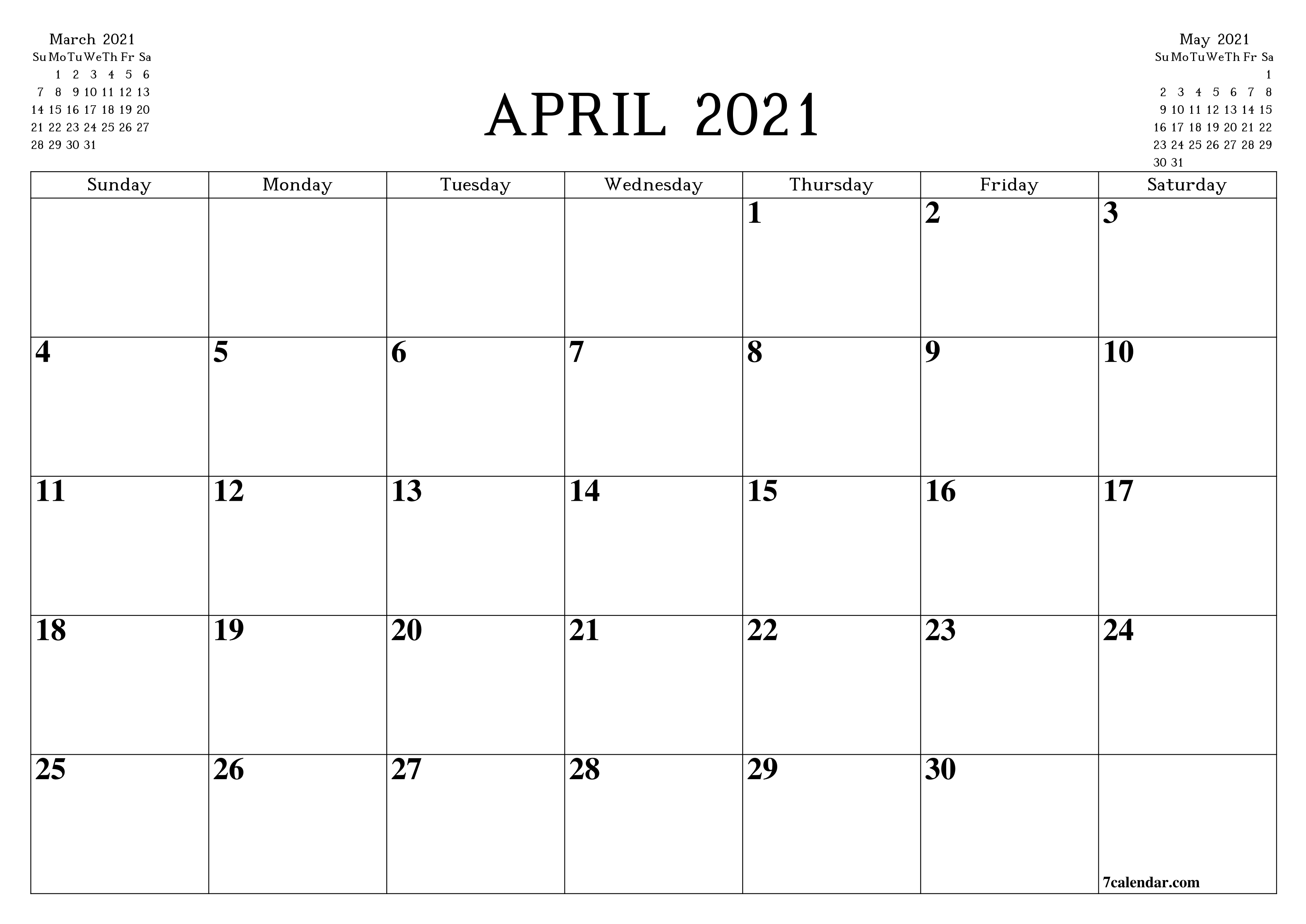 Free Printable Blank Monthly Calendar And Planner For April-Legal Size Calendar Template
