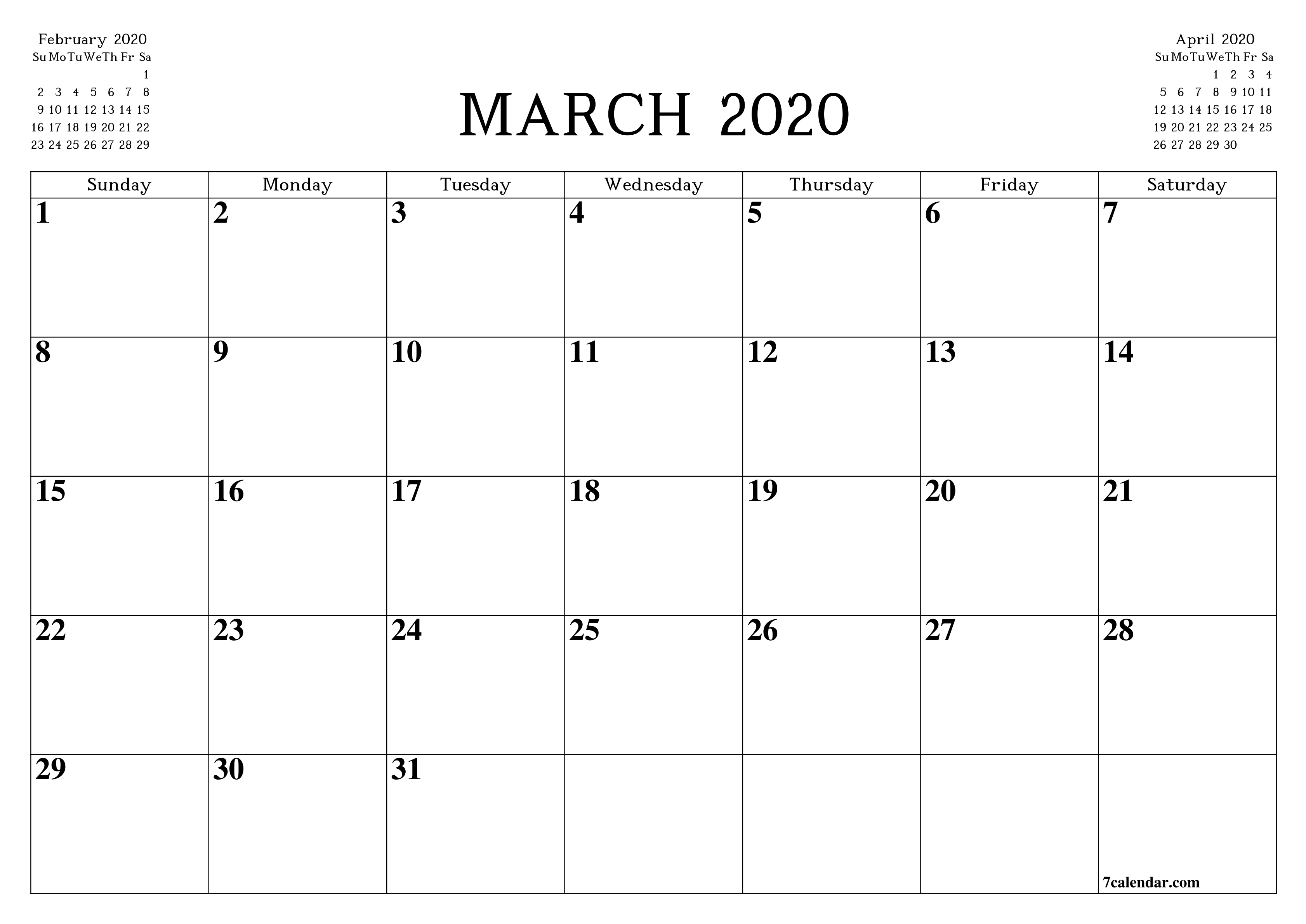 Free Printable Blank Monthly Calendar And Planner For March-Legal Size Calendar Template