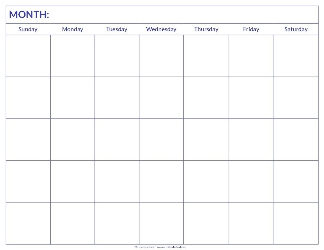 Free Printable Blank Monthly Calendar | Student Handouts-Fre Printable Blank Calander Monthly Pages