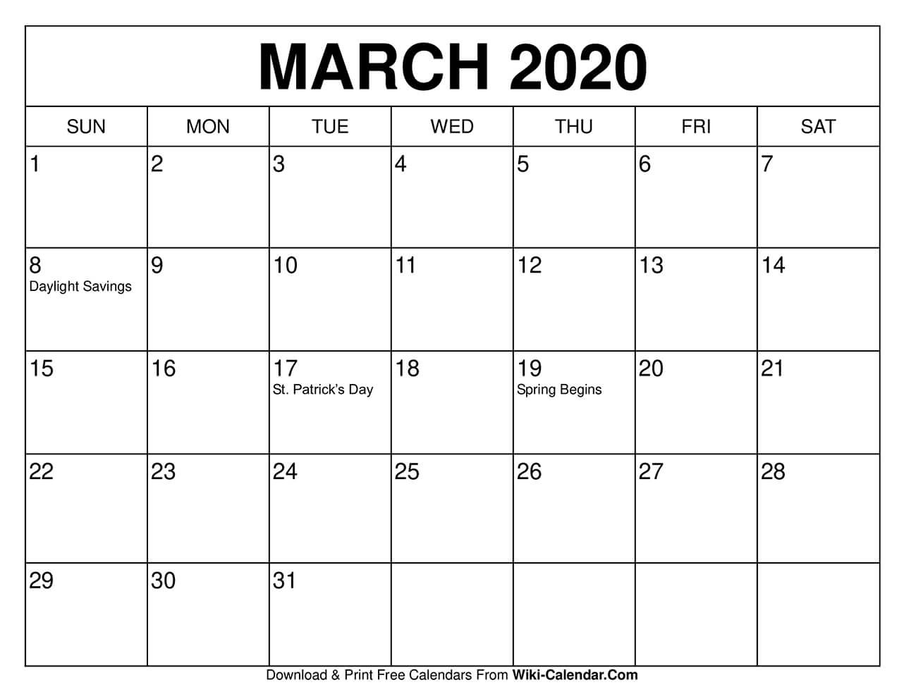 Free Printable March 2020 Calendars-Day To Day Calendar Template 2020