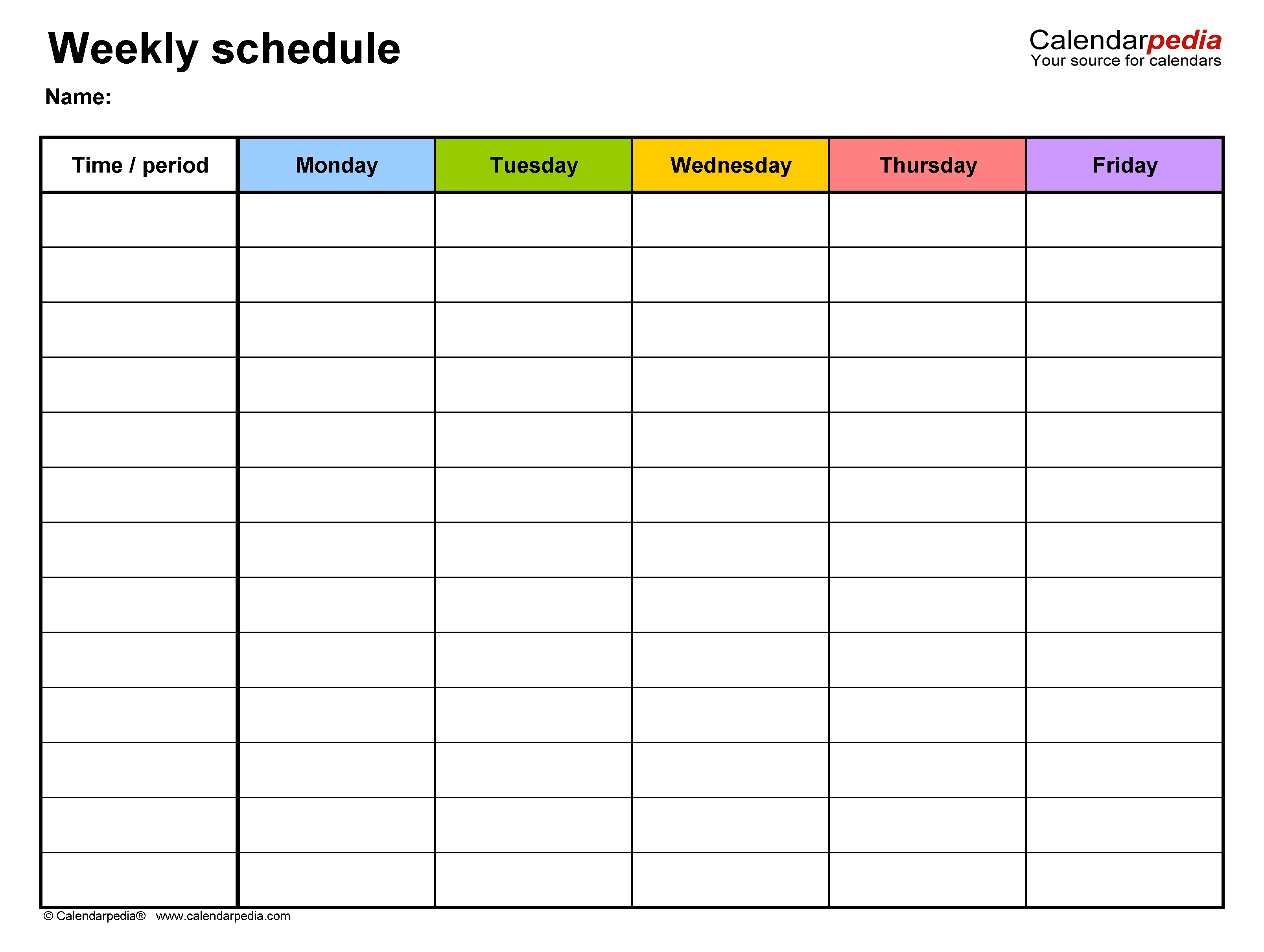 Free Weekly Schedule Templates For Pdf - 18 Templates-Monday To Sunday Calendar Template Writing Practice