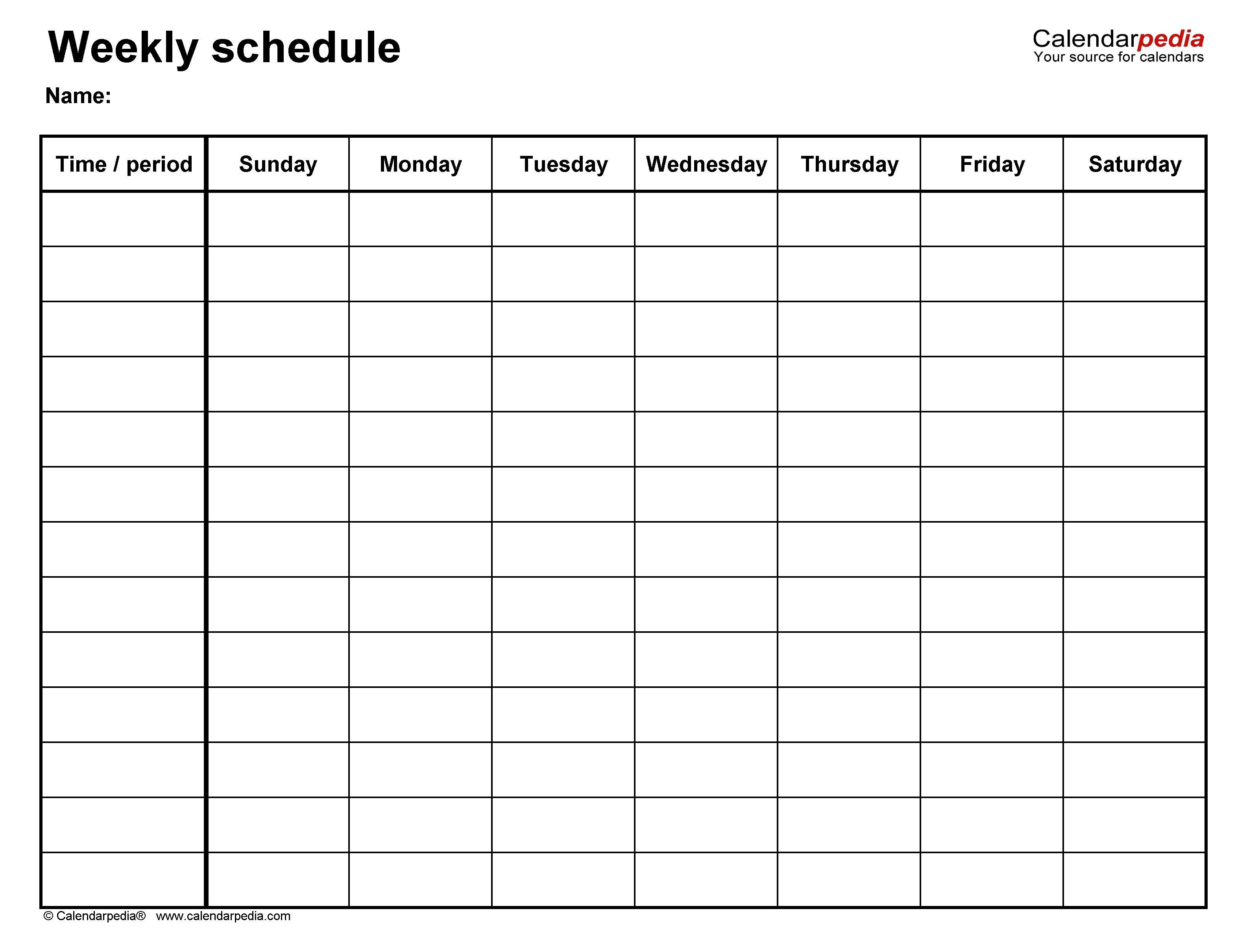 Free Weekly Schedule Templates For Word - 18 Templates-Blank Academic Week By Week Calendar