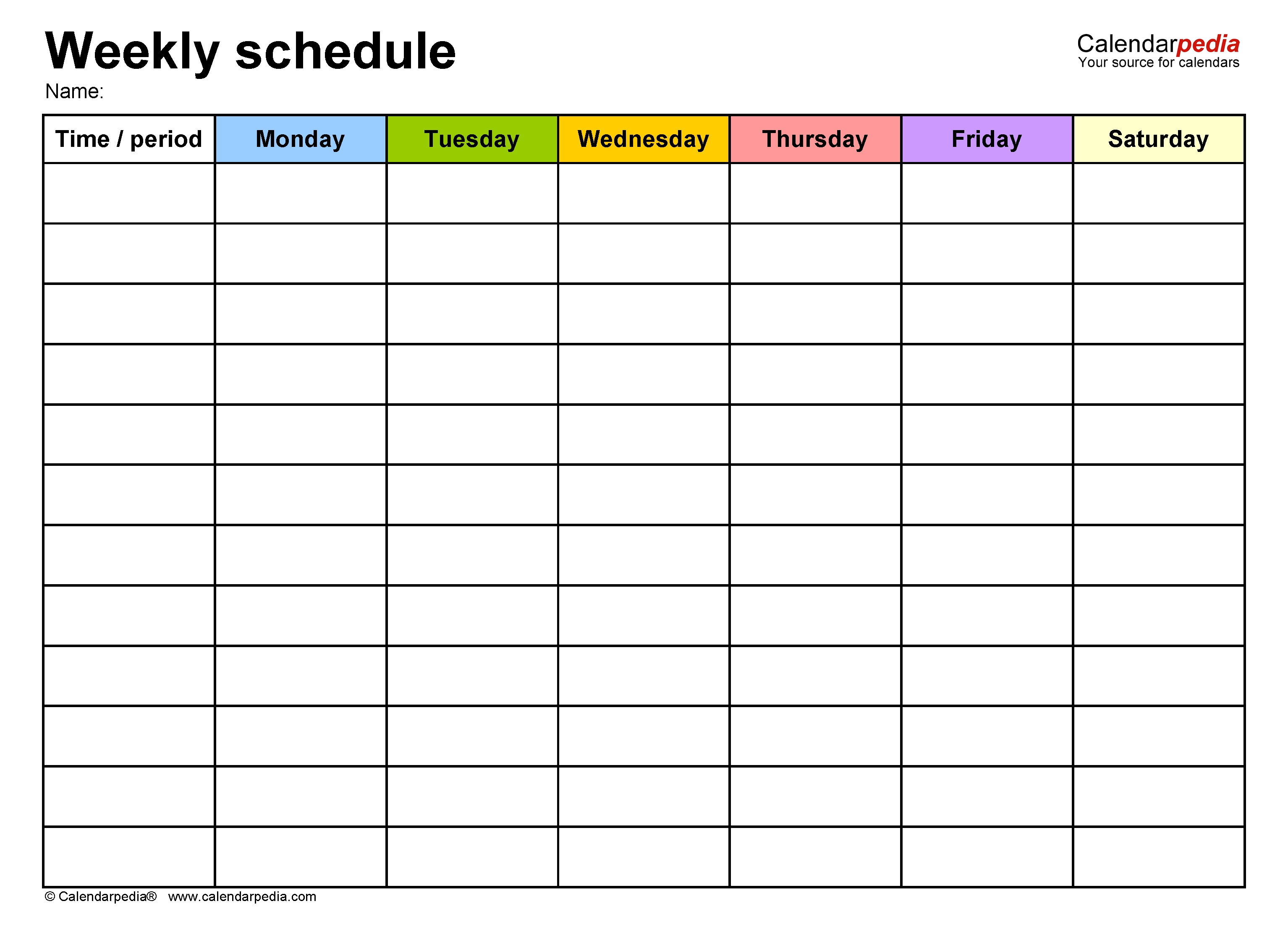 Free Weekly Schedule Templates For Word - 18 Templates-Monday Friday Blank Calendar