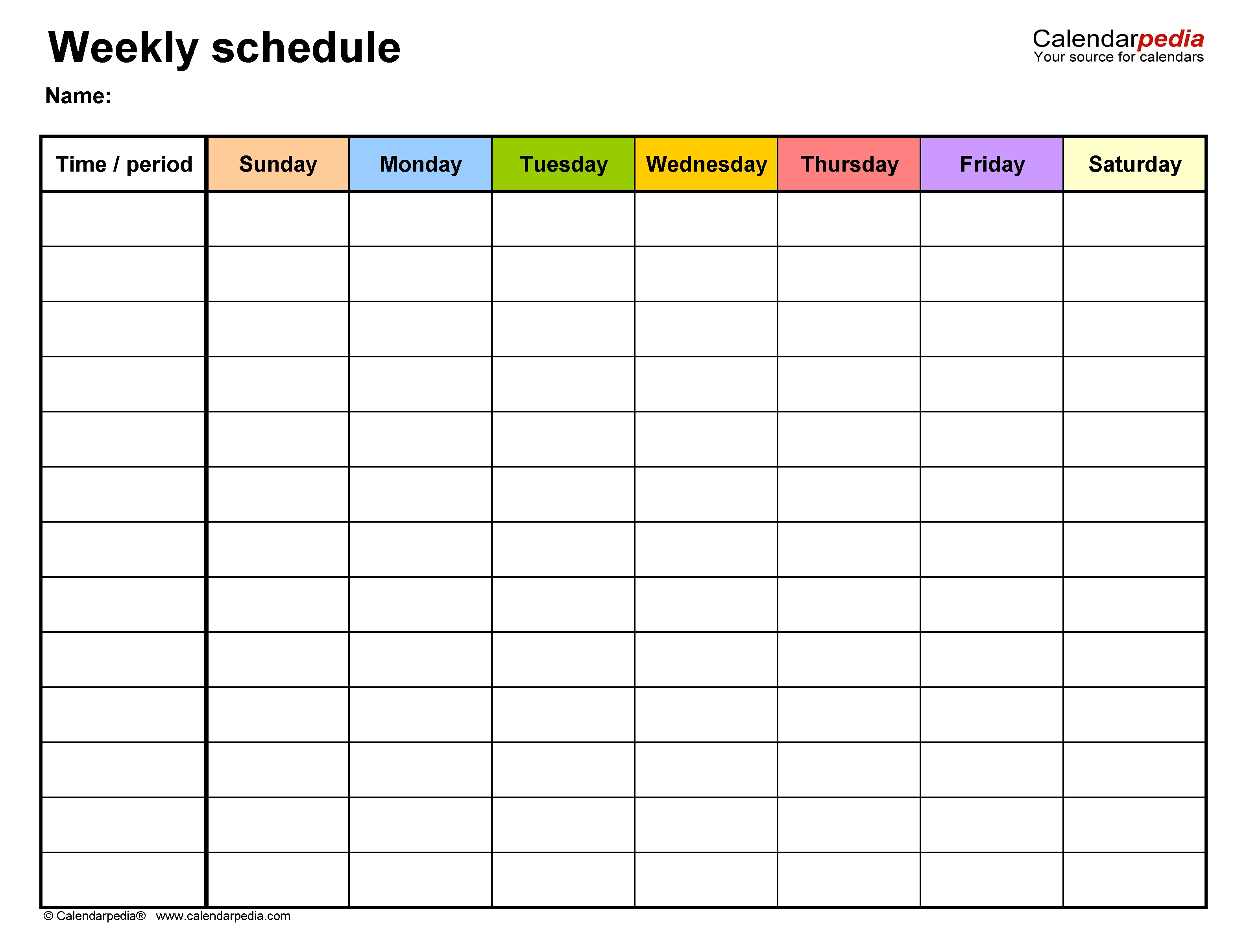 Free Weekly Schedule Templates For Word - 18 Templates-Seven Day Calendar Schedule Template