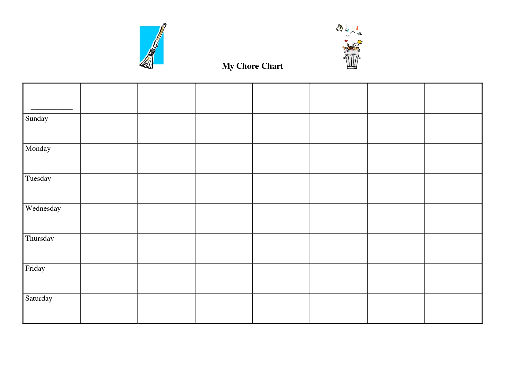 Free+Printable+Blank+Chore+Chart+Templates (With Images-Monday To Sunday Calendar Template Writing Practice