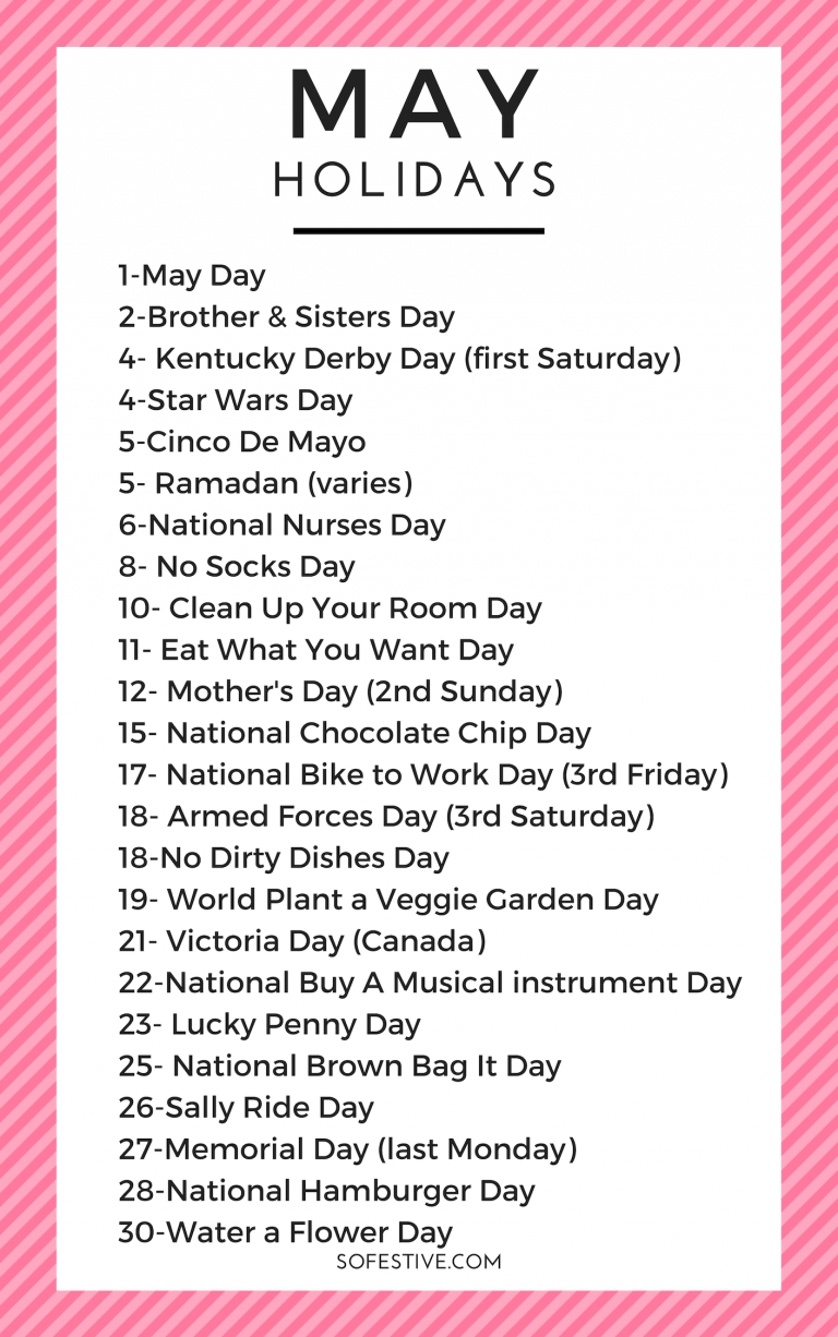 Fun May Holidays & Easy Ways To Celebrate- Holiday Ideas-Fun National Food Holidays 2020 Calendar