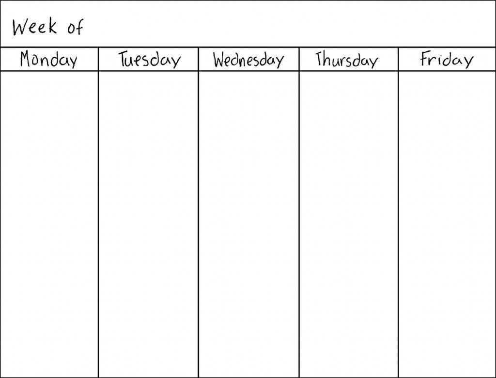Get 5 Day Week Blank Calendar Printable | Weekly Calendar-5 Day Week Calender Template