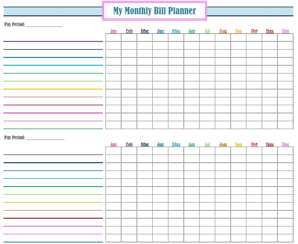 Gold Project Bill Planner | Bill Planner, Bill Calendar-Printable Monthly Billing Chart