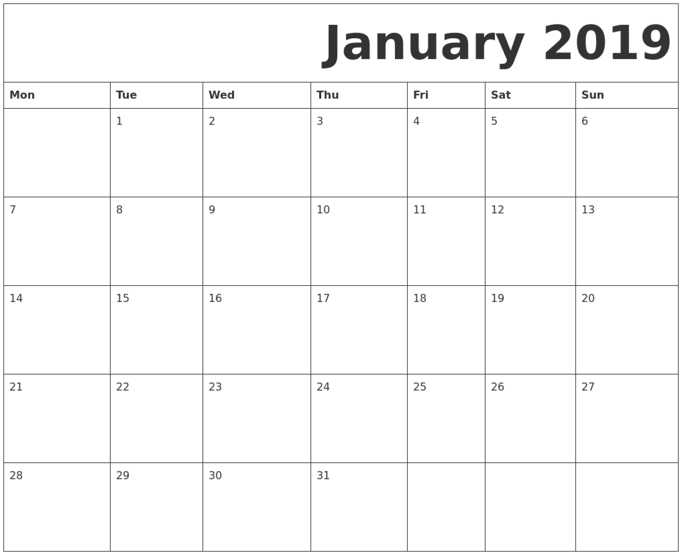 January 2019 Printable Calendar Monday Start. | Printable-Printable Monthly Calendar Monday Start