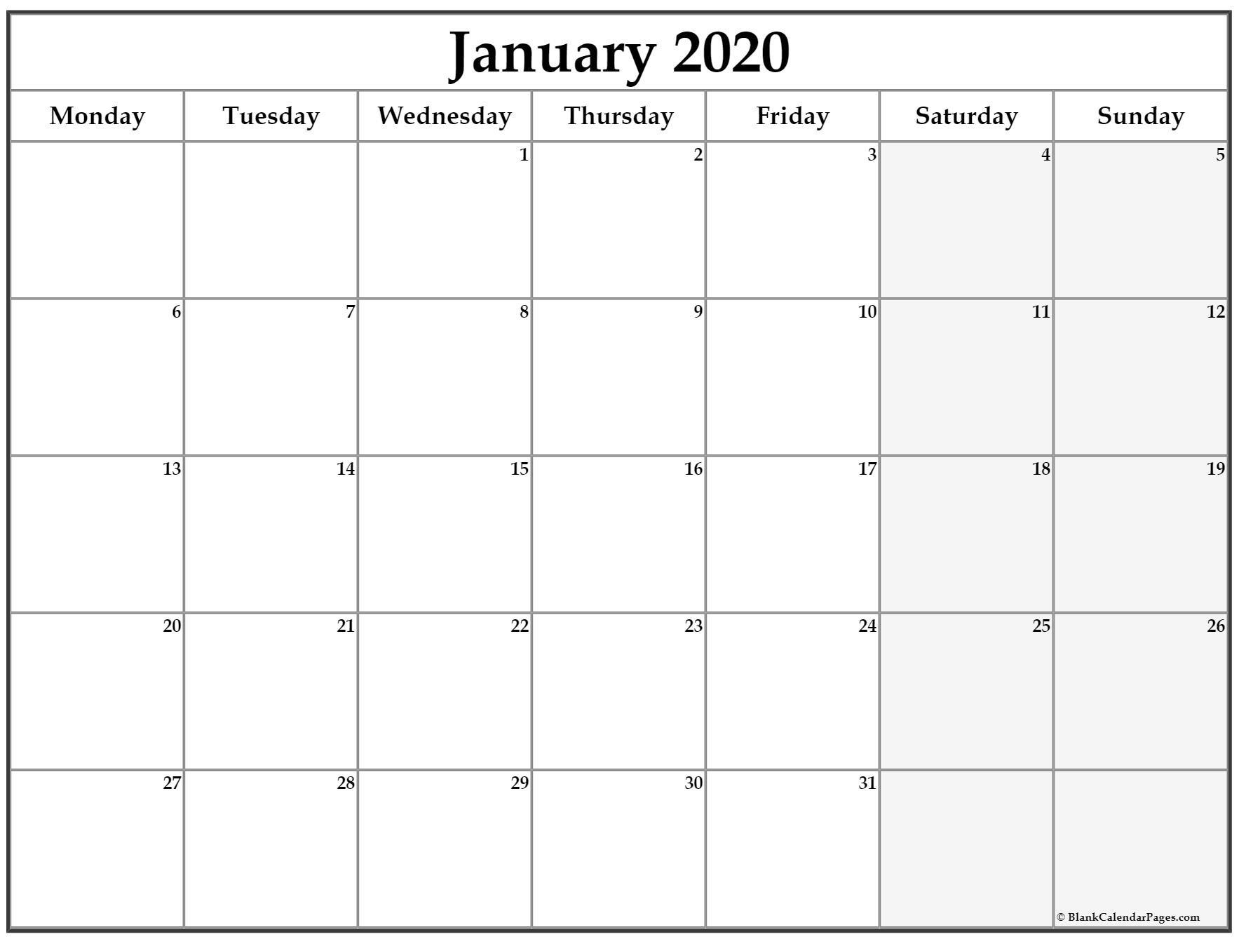 January 2020 Monday Calendar | Monday To Sunday-Monday Friday Blank Calendar