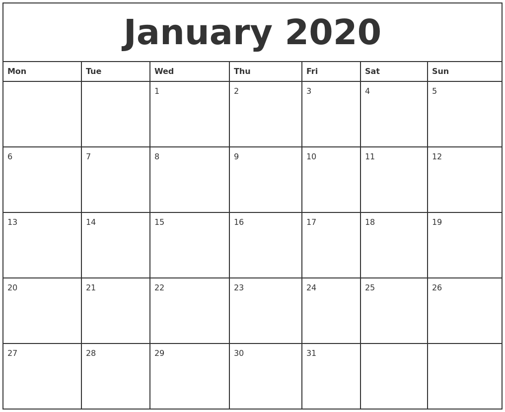 January 2020 Printable Monthly Calendar-Printable Monthly Calendar Monday Start