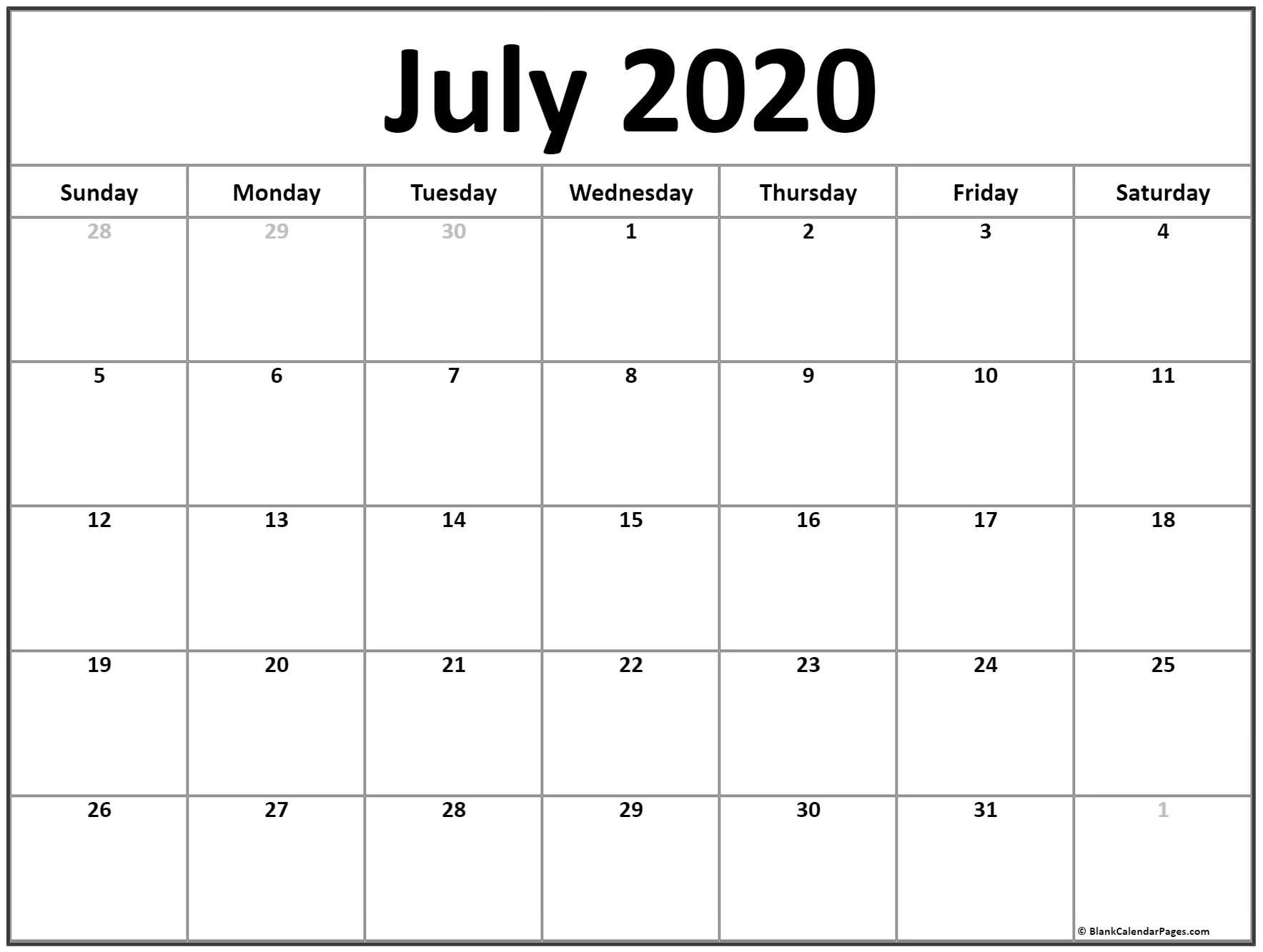 July 2020 Calendar | Free Printable Monthly Calendars-June-August 2020 Blank Clanedars