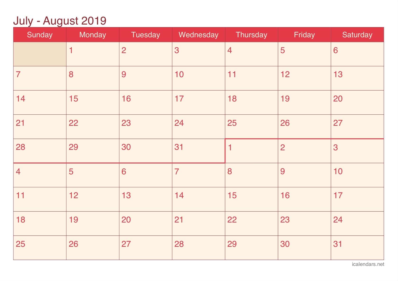 July And August Blank Calendar - Calendar Inspiration Design-Blank Chalender For Junejuly And August