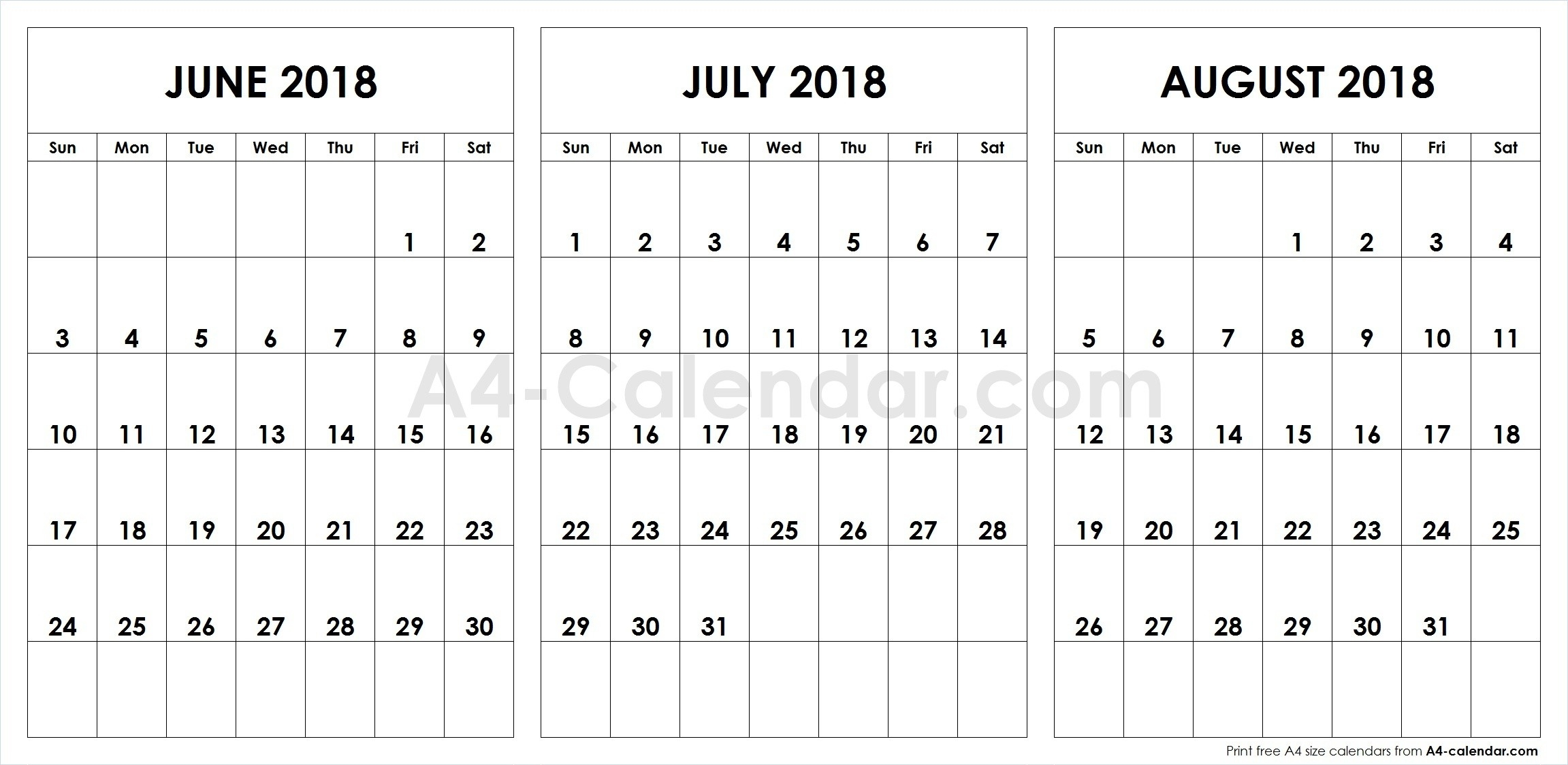 June July August 2018 A4 Calendar | 3 Month Calendar Template-Blank Chalender For Junejuly And August
