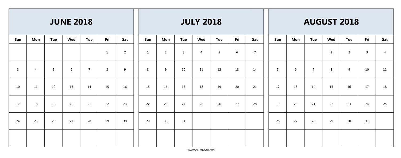 June July August 2018 Calendar | June Calendar Printable-Blank Chalender For Junejuly And August