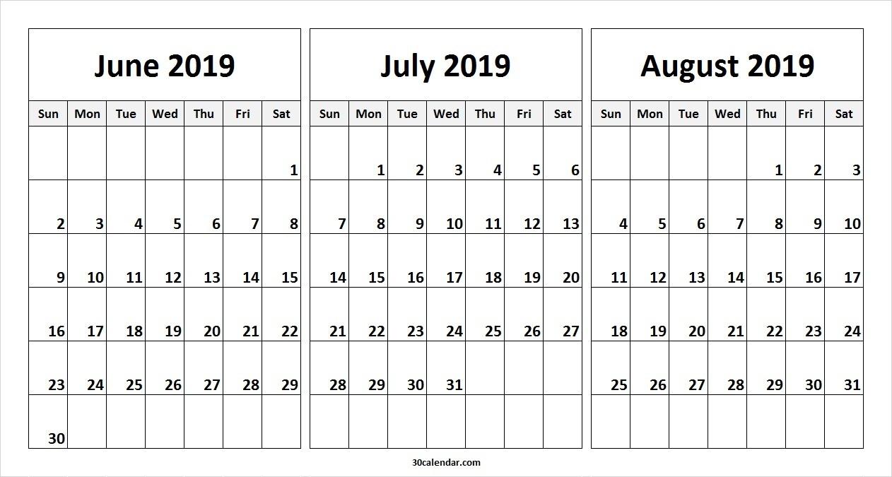 June July August 2019 Calendar | 3 Month Calendar Template-Blank Chalender For Junejuly And August