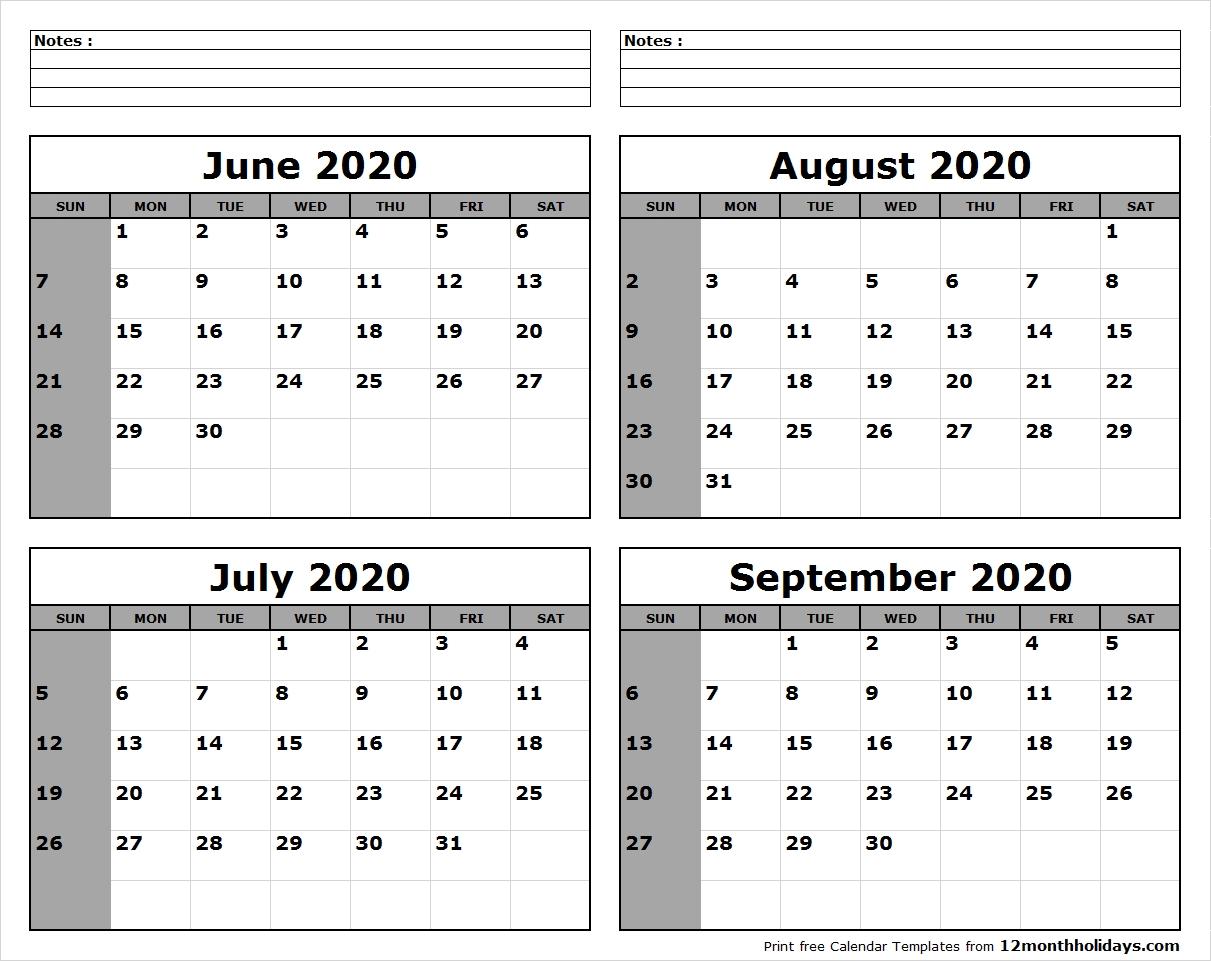 June-July-August-September-2020-Calendar-To-Print - All 12-Blank Calendar June July August 2020