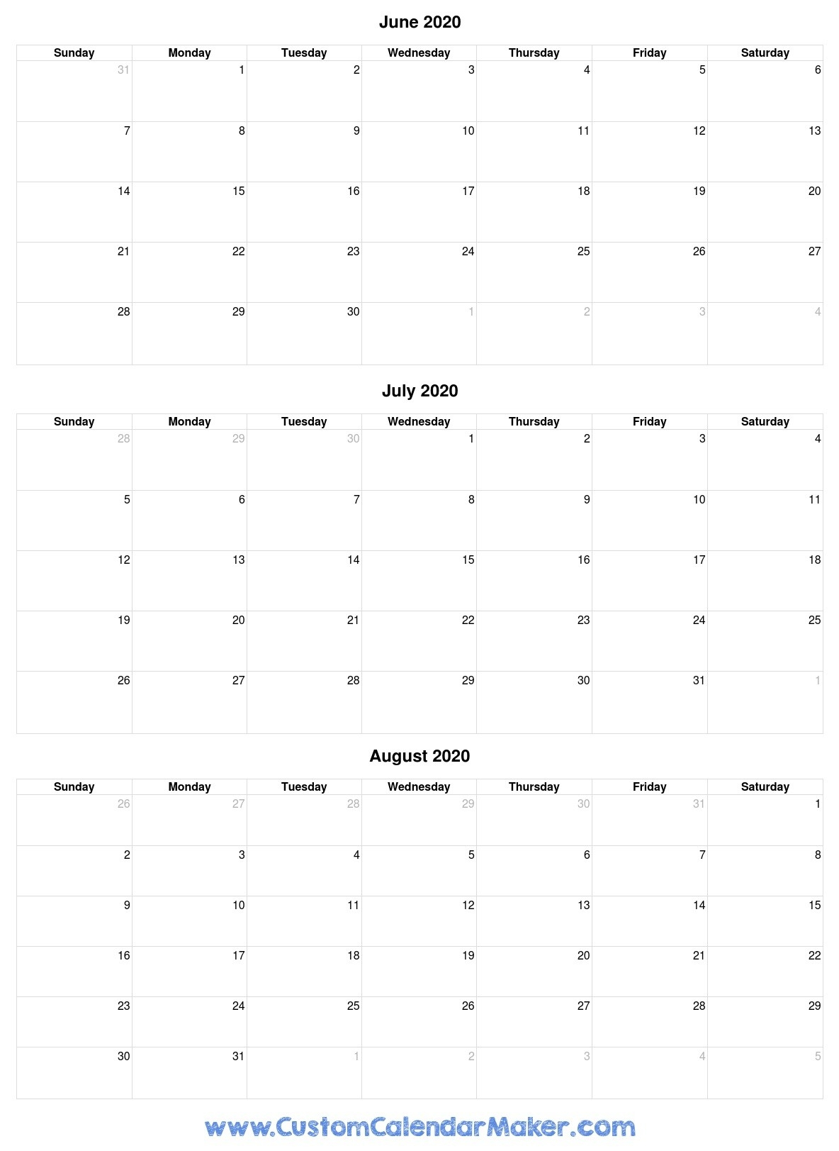 June To August 2020 Calendar-Blank Calendars June July And August 2020