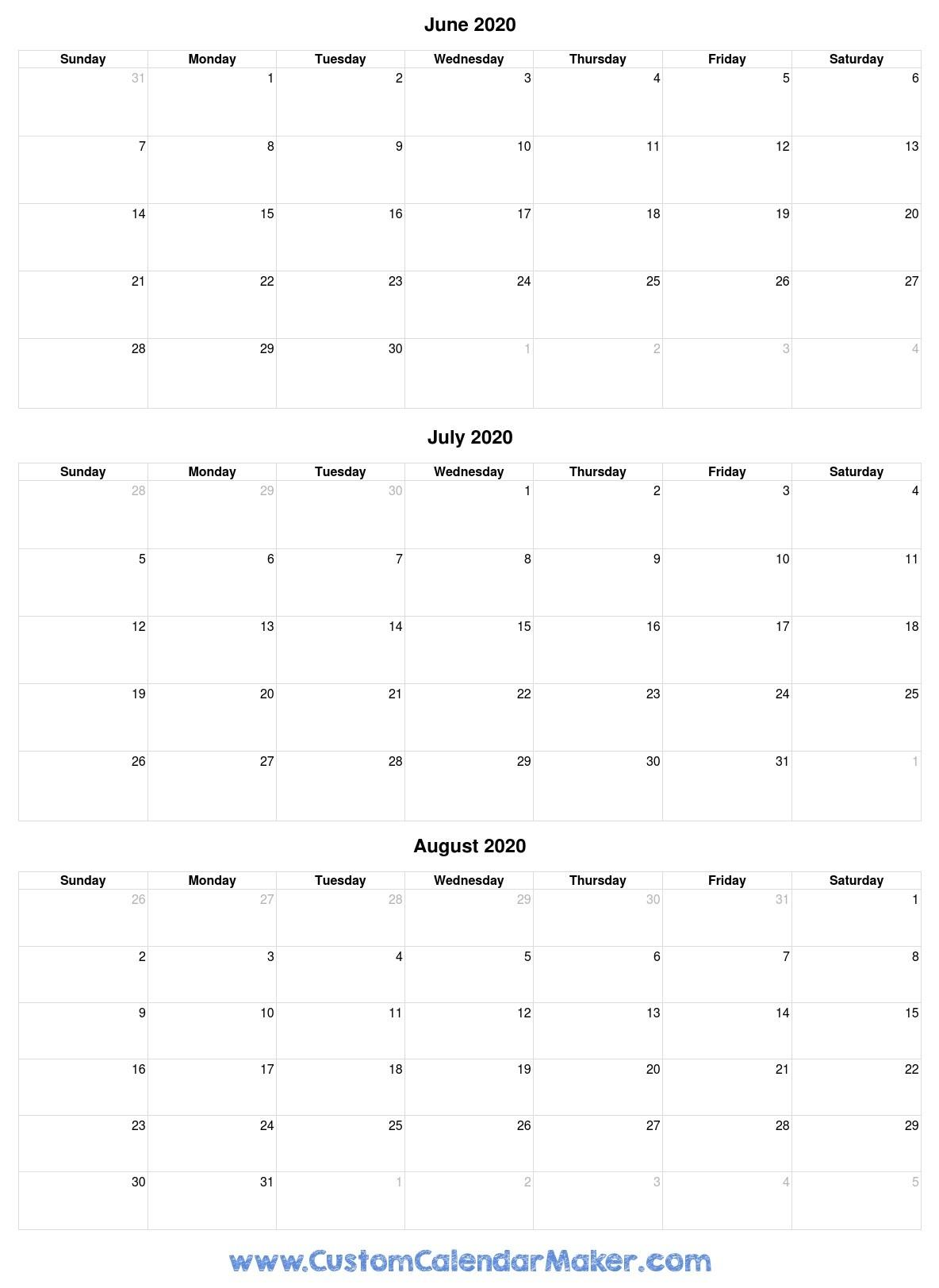 June To August 2020 Calendar-June-August 2020 Blank Clanedars