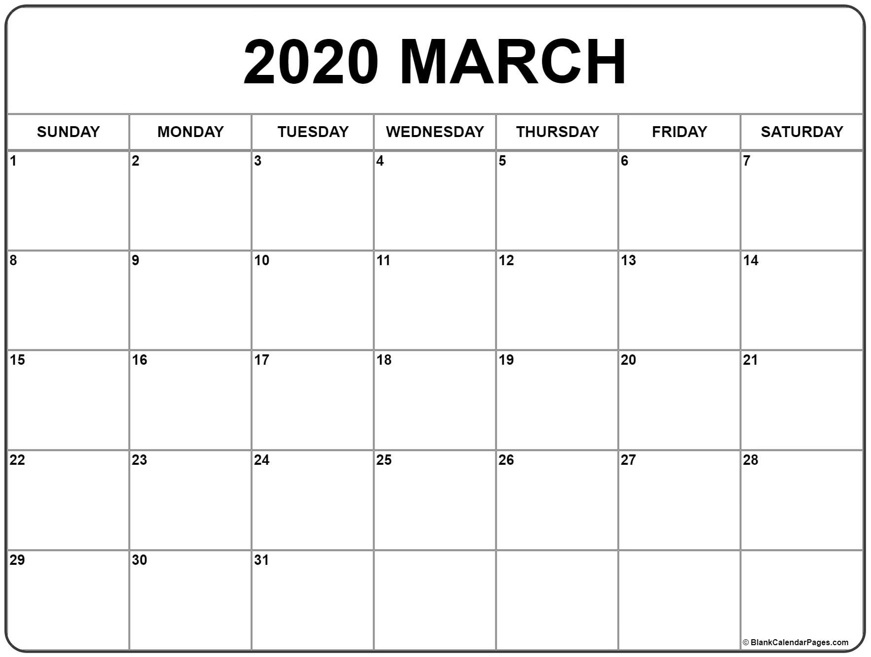 March 2020 Calendar | Free Printable Monthly Calendars-Fre Printable Blank Calander Monthly Pages