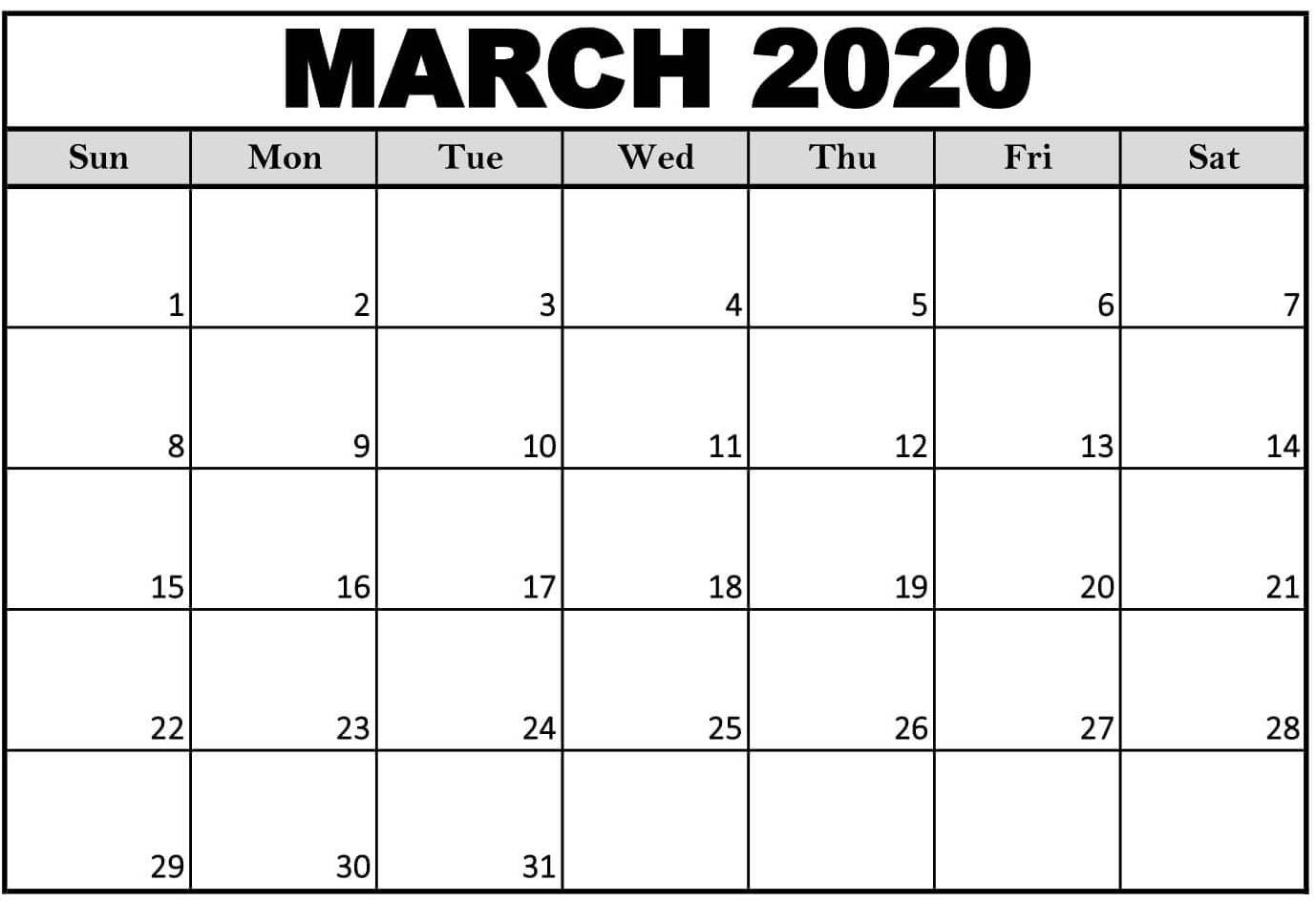 March 2020 Calendar Printable With Notes Excel Size - Set-2020 Calendar Excel Template