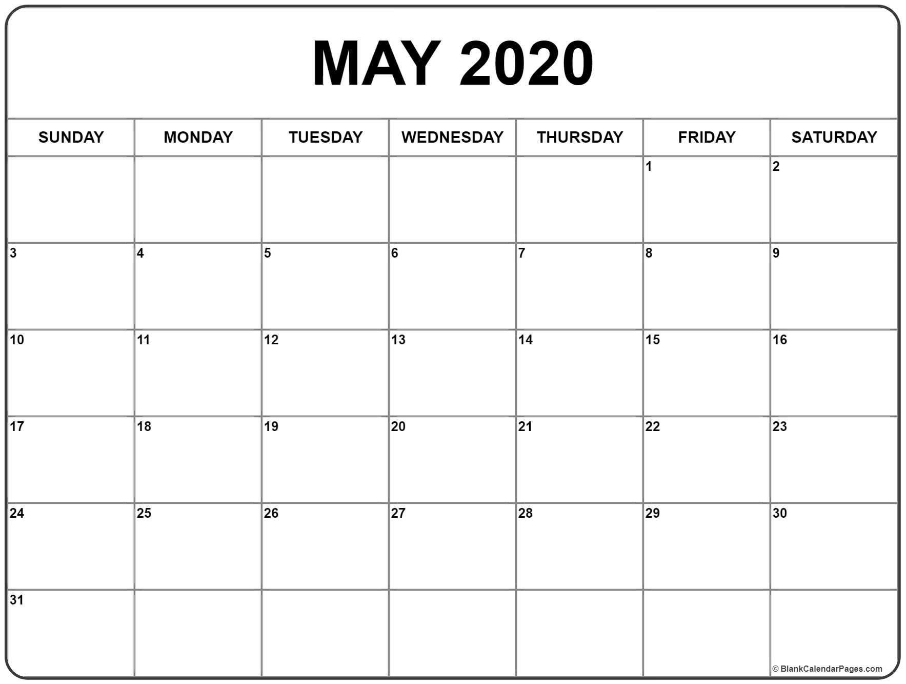 May 2020 Calendar | Free Printable Monthly Calendars-2020 Calendar Templates Monday - Friday